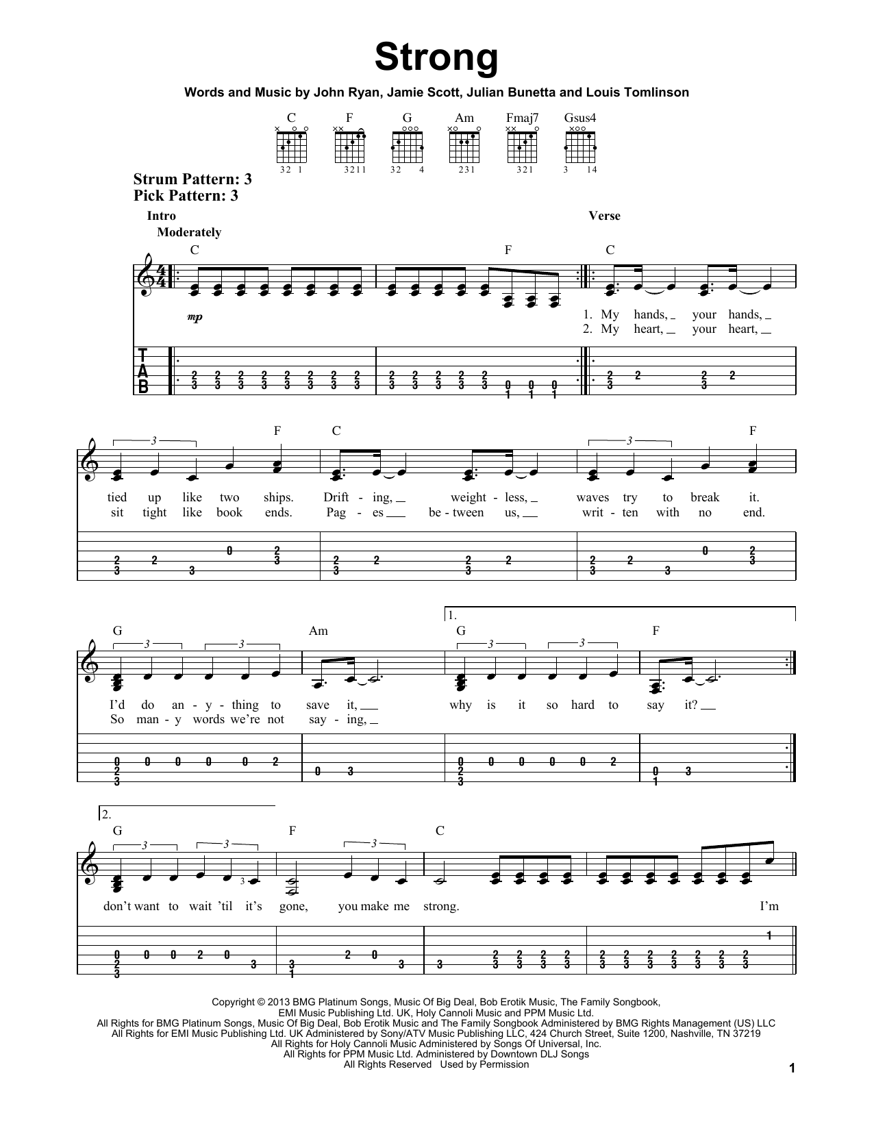 Tablature guitare Strong de One Direction - Tablature guitare facile