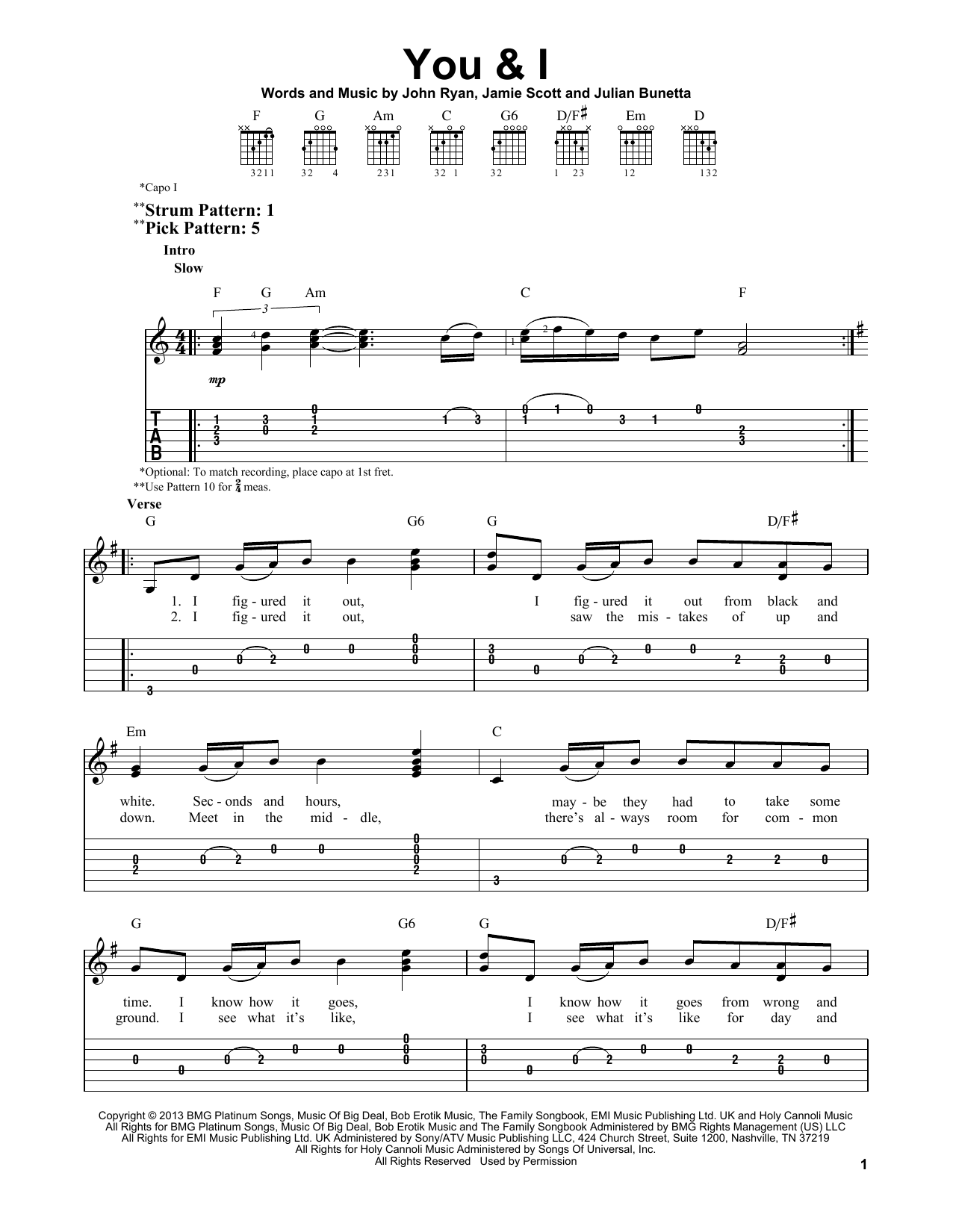 Tablature guitare You & I de One Direction - Tablature guitare facile
