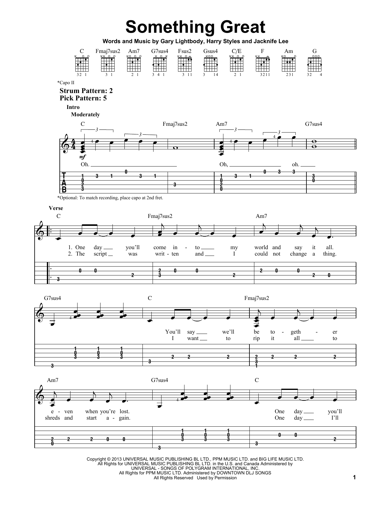 Tablature guitare Something Great de One Direction - Tablature guitare facile