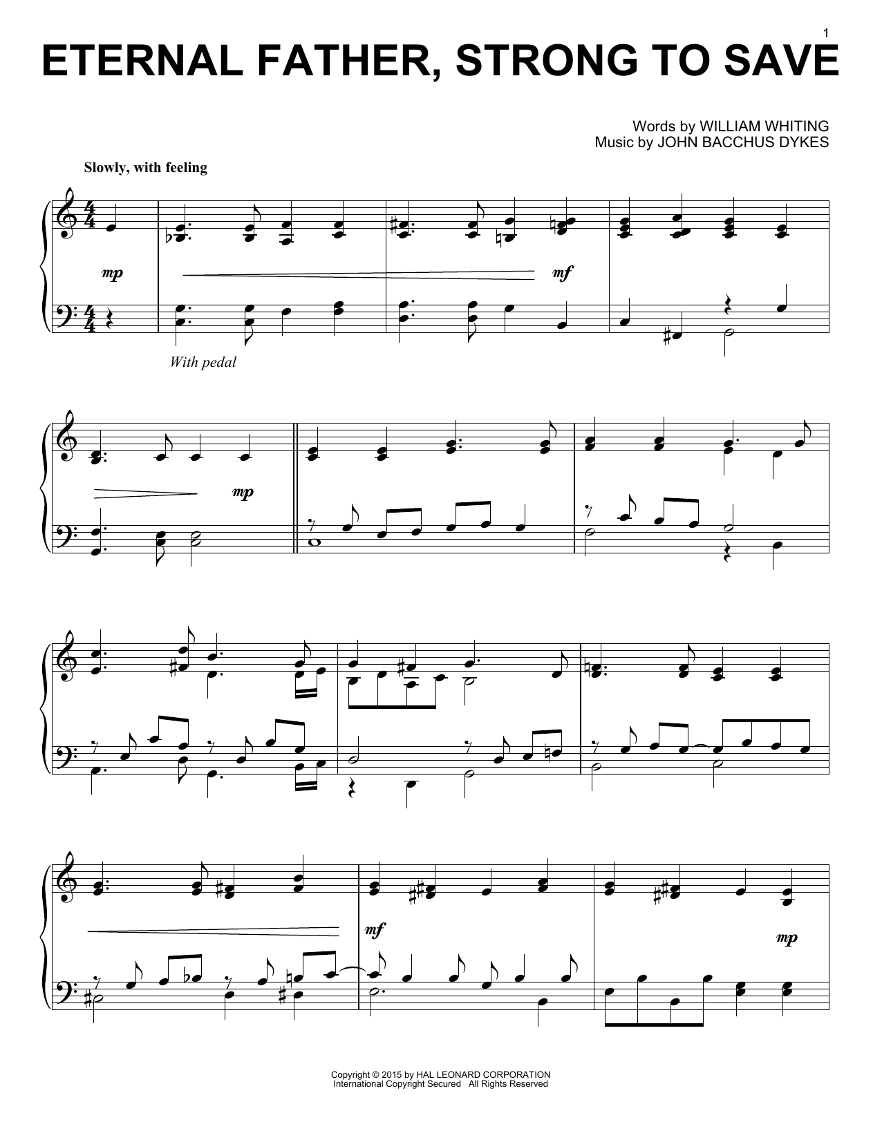 Partition piano Eternal Father, Strong To Save de John B. Dykes - Piano Solo