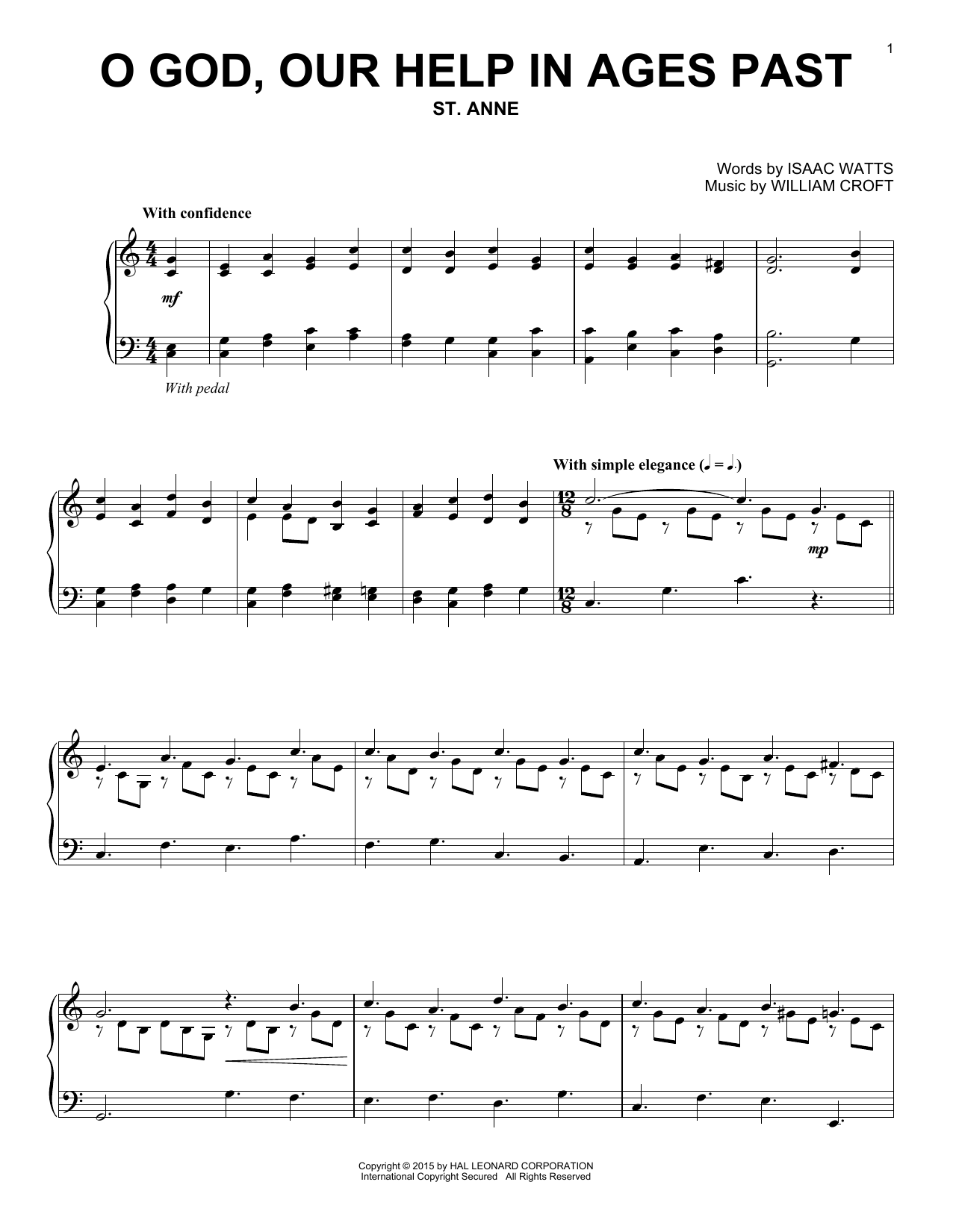 Partition piano O God, Our Help In Ages Past de William Croft - Piano Solo