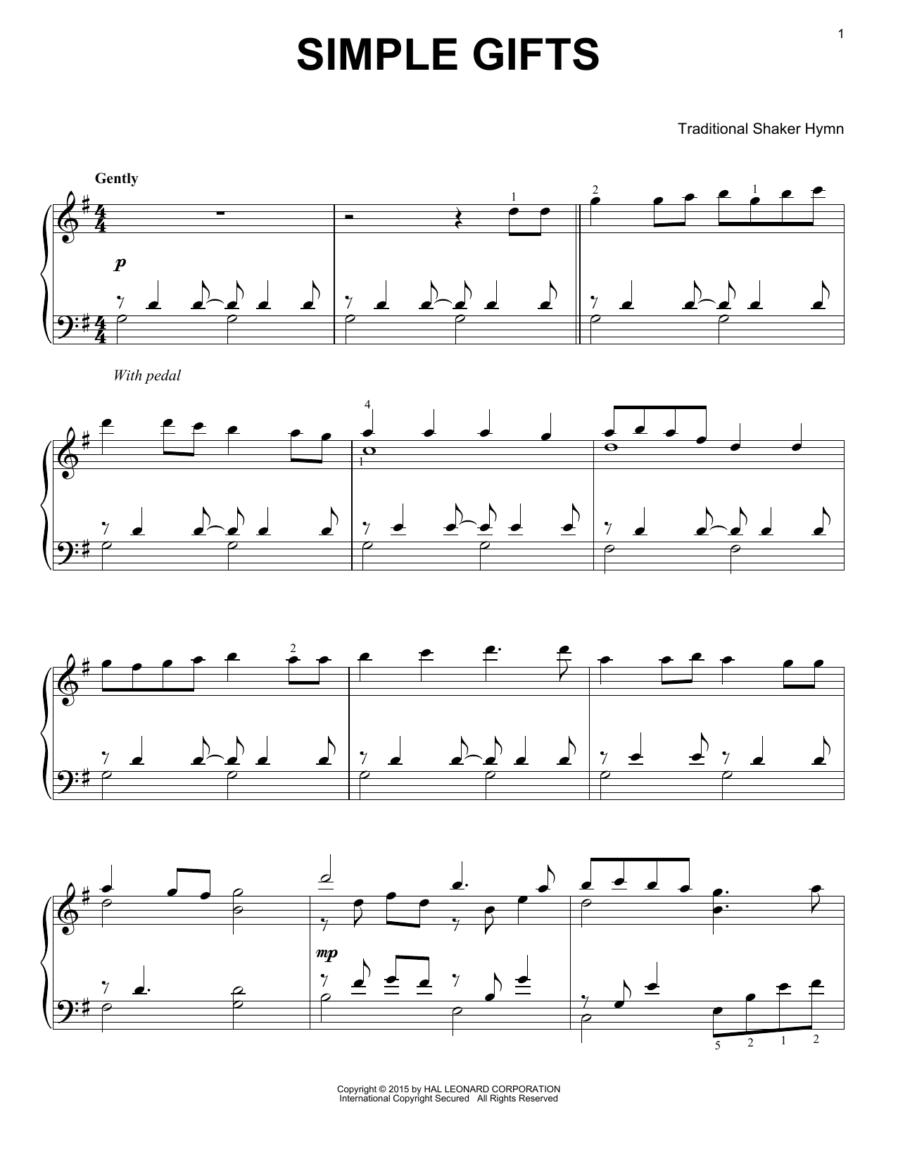 Partition piano Simple Gifts de Traditional Shaker Hymn - Piano Solo