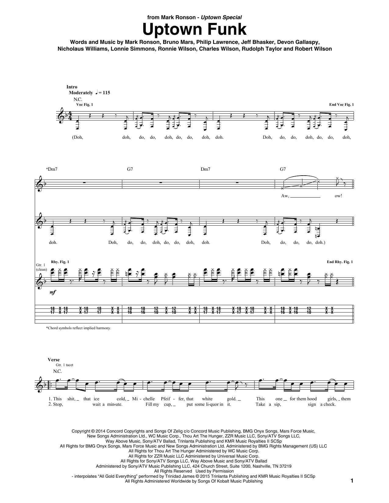 Uptown Funk Guitar Tab by Mark Ronson ft. Bruno Mars (Guitar Tab u2013 158376)