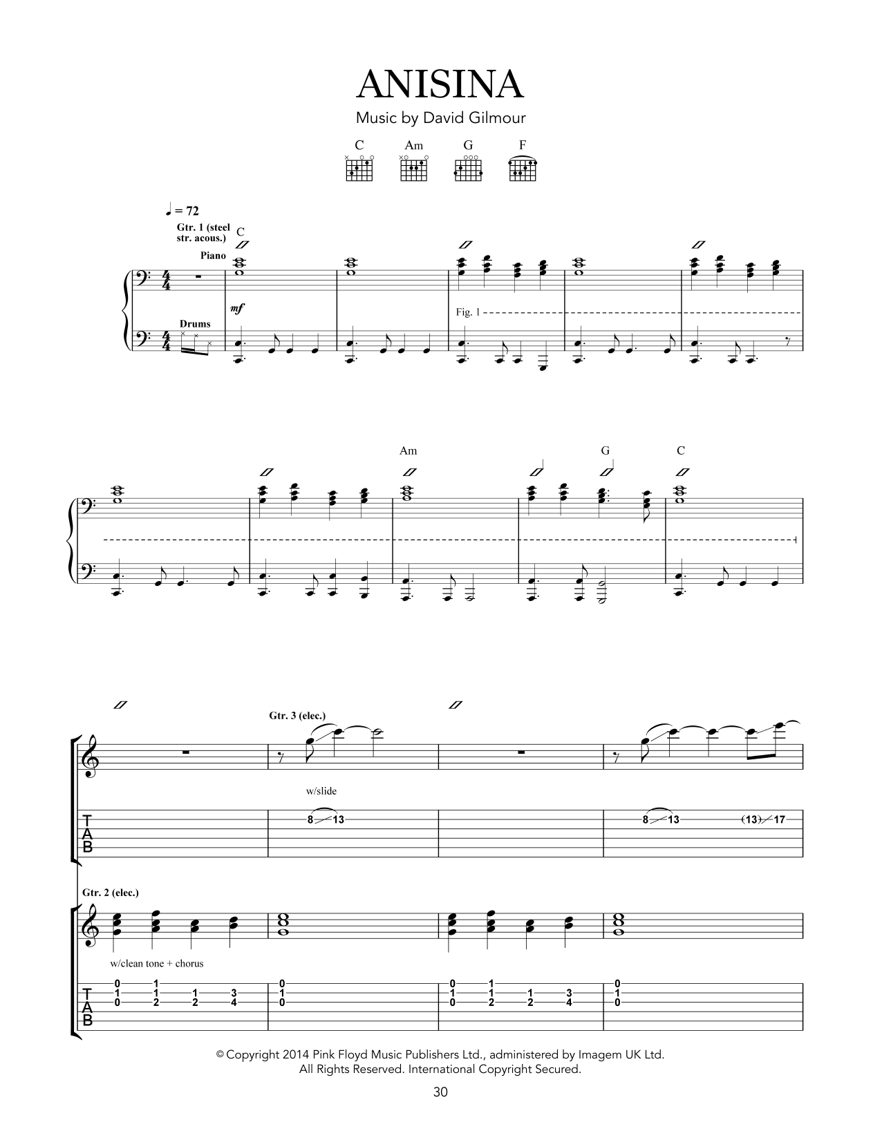 Tablature guitare Anisina de Pink Floyd - Tablature Guitare