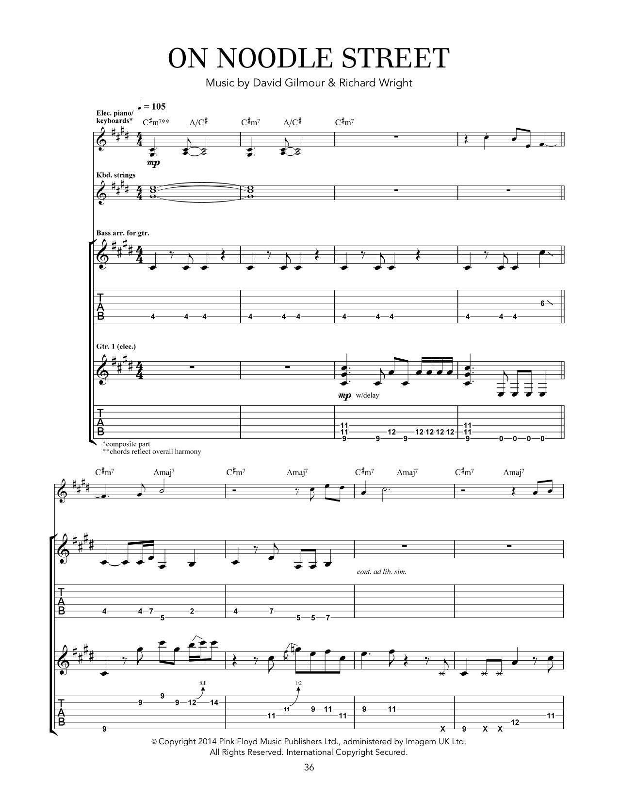 Tablature guitare On Noodle Street de Pink Floyd - Tablature Guitare