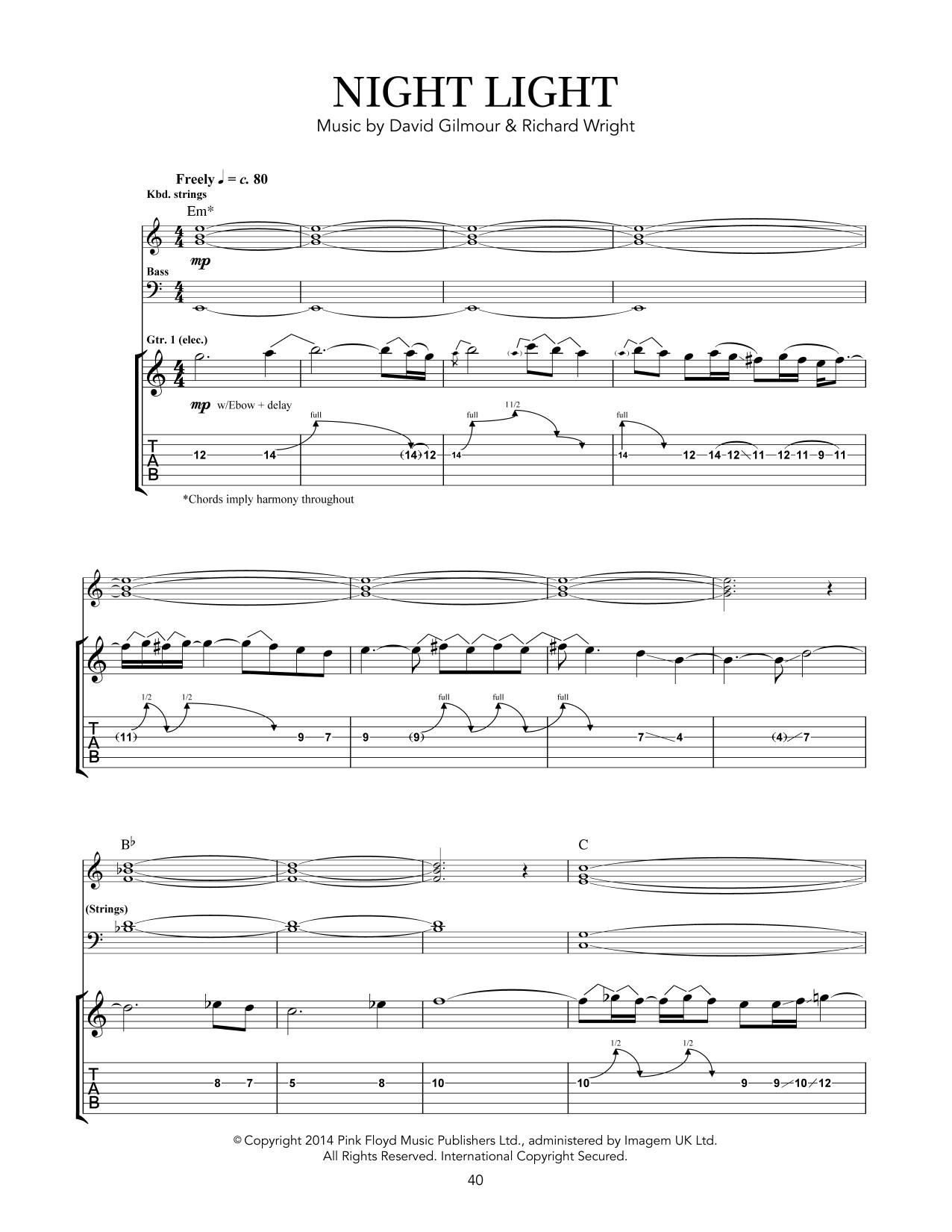 Tablature guitare Night Light de Pink Floyd - Tablature Guitare