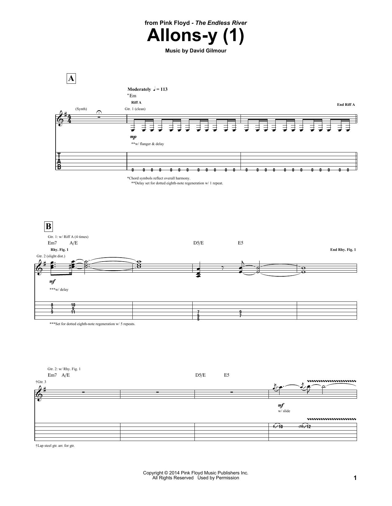 Tablature guitare Allons Y (1) de Pink Floyd - Tablature Guitare