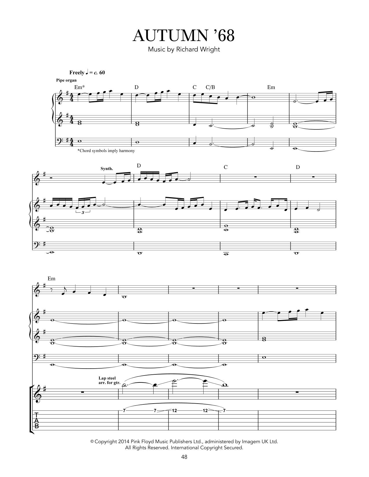 Tablature guitare Autumn '68 de Pink Floyd - Tablature Guitare