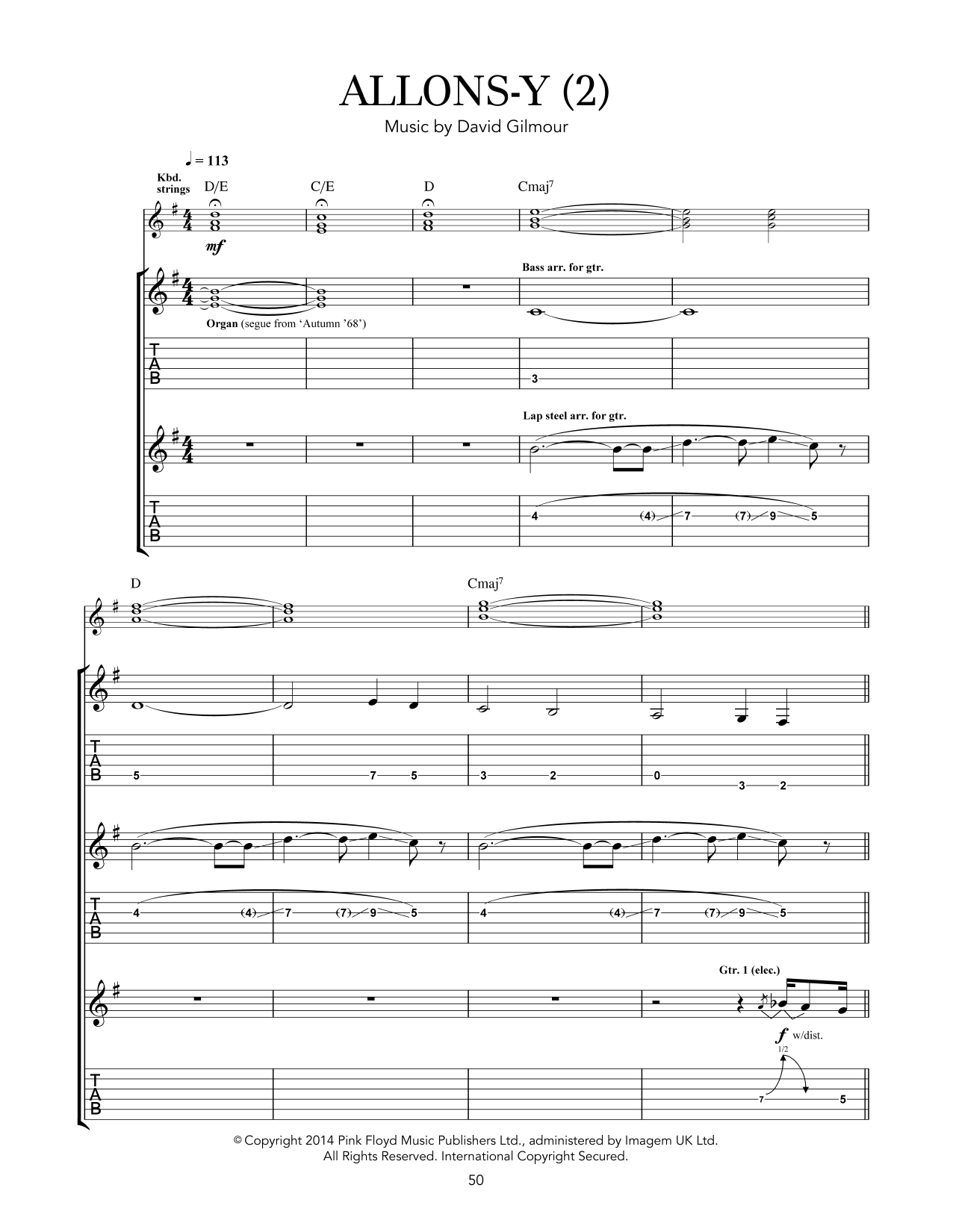 Tablature guitare Allons Y (2) de Pink Floyd - Tablature Guitare