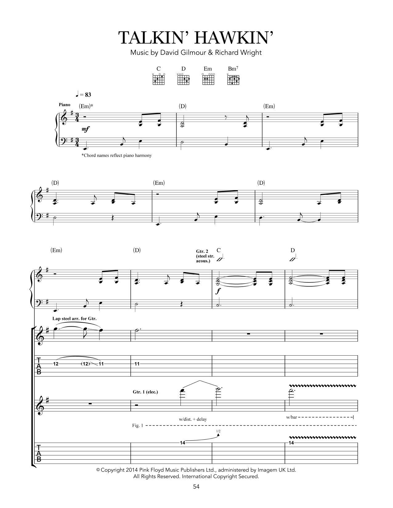 Tablature guitare Talkin' Hawkin' de Pink Floyd - Tablature Guitare
