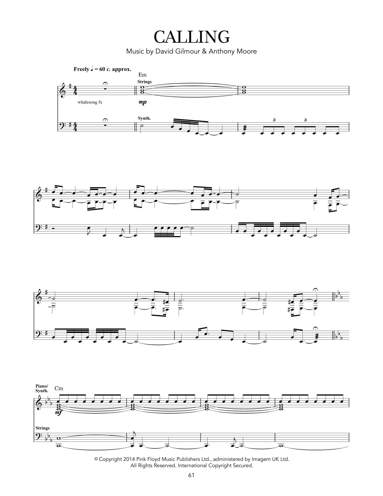 Tablature guitare Calling de Pink Floyd - Tablature Guitare