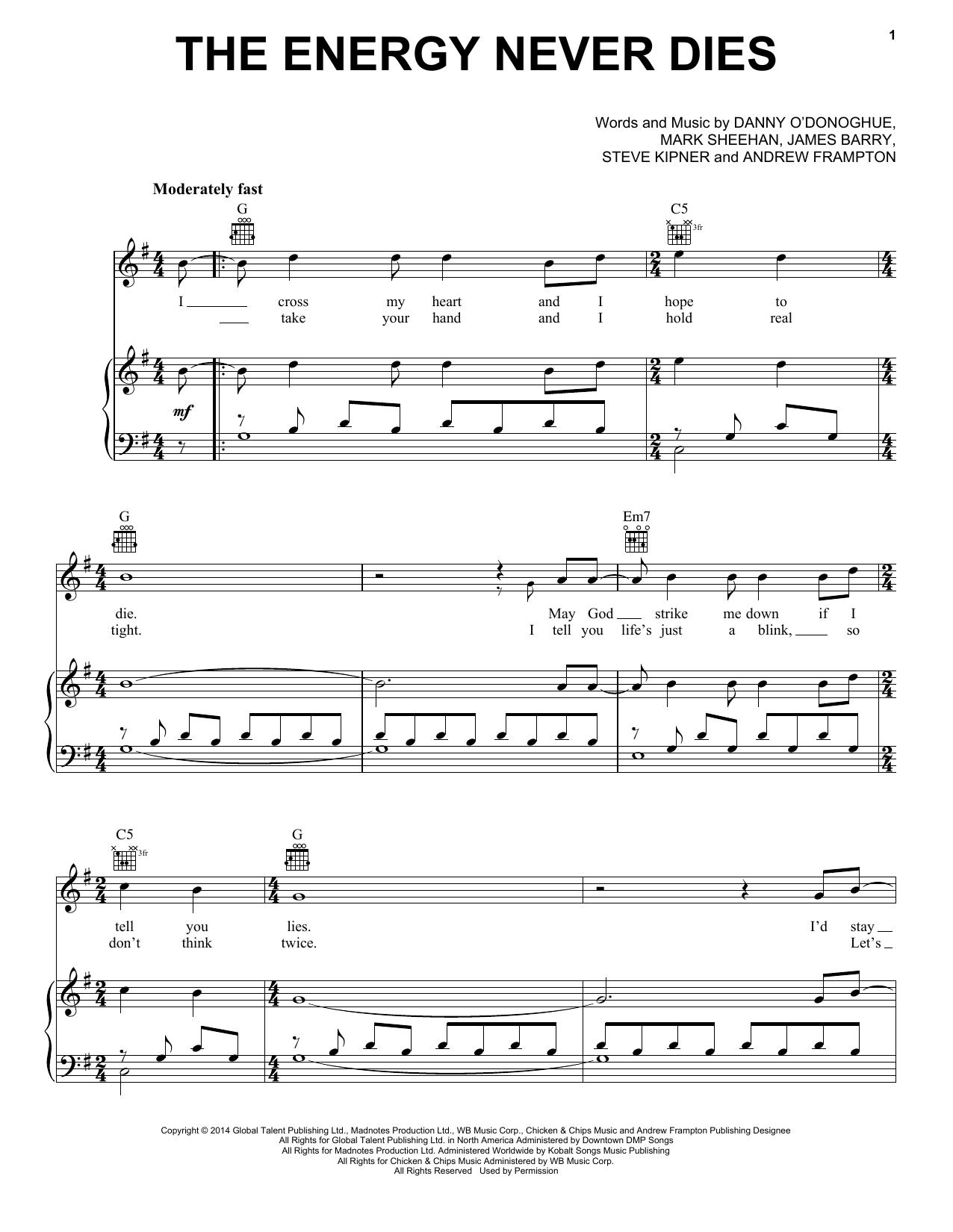 Partition piano The Energy Never Dies de The Script - Piano Voix Guitare (Mélodie Main Droite)