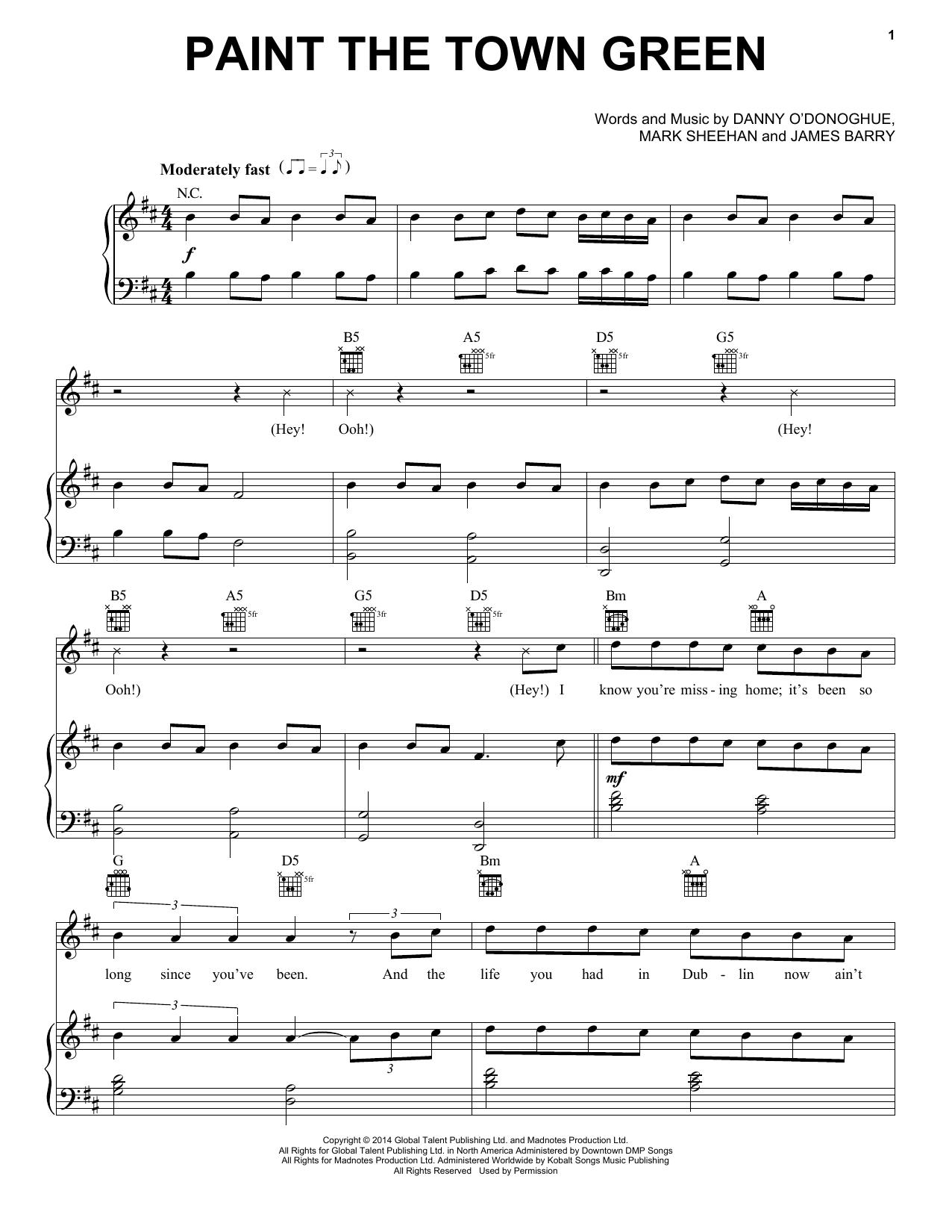 Partition piano Paint The Town Green de The Script - Piano Voix Guitare (Mélodie Main Droite)