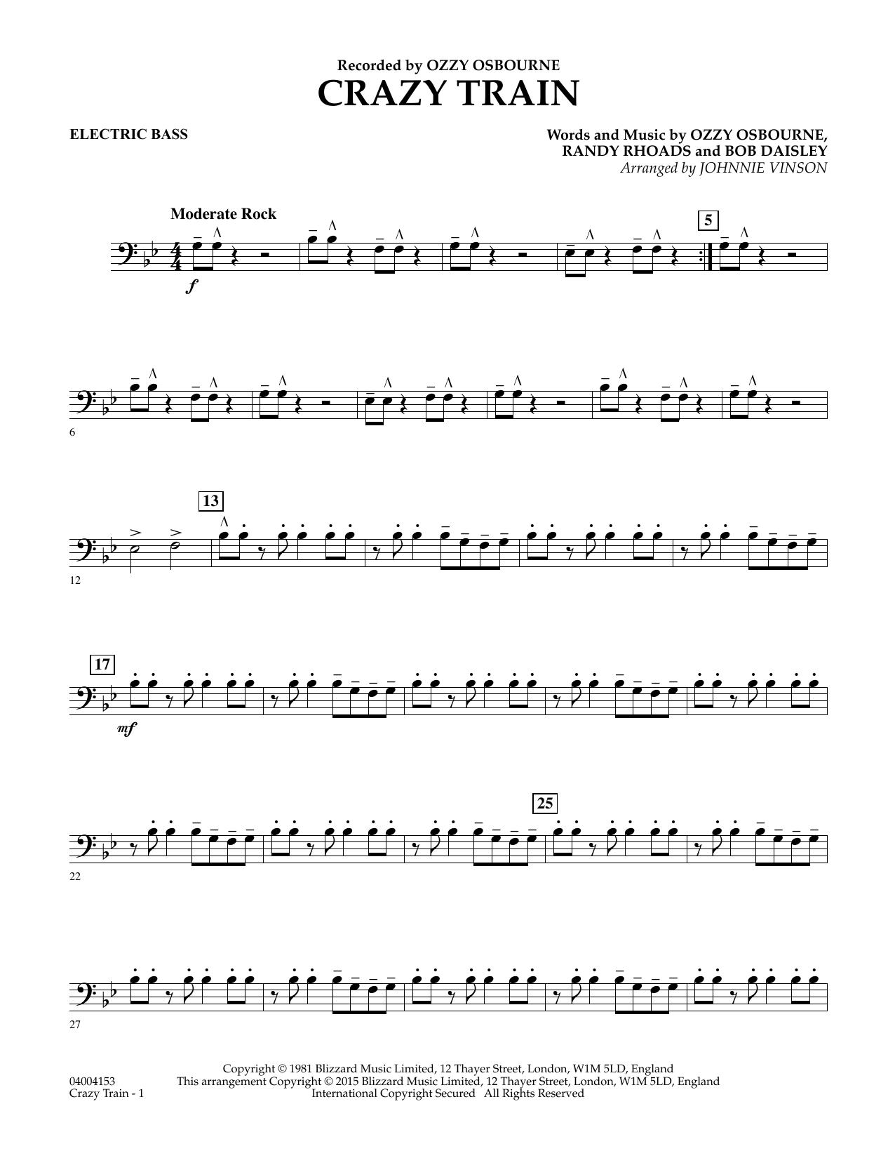 crazy train bass tab pdf