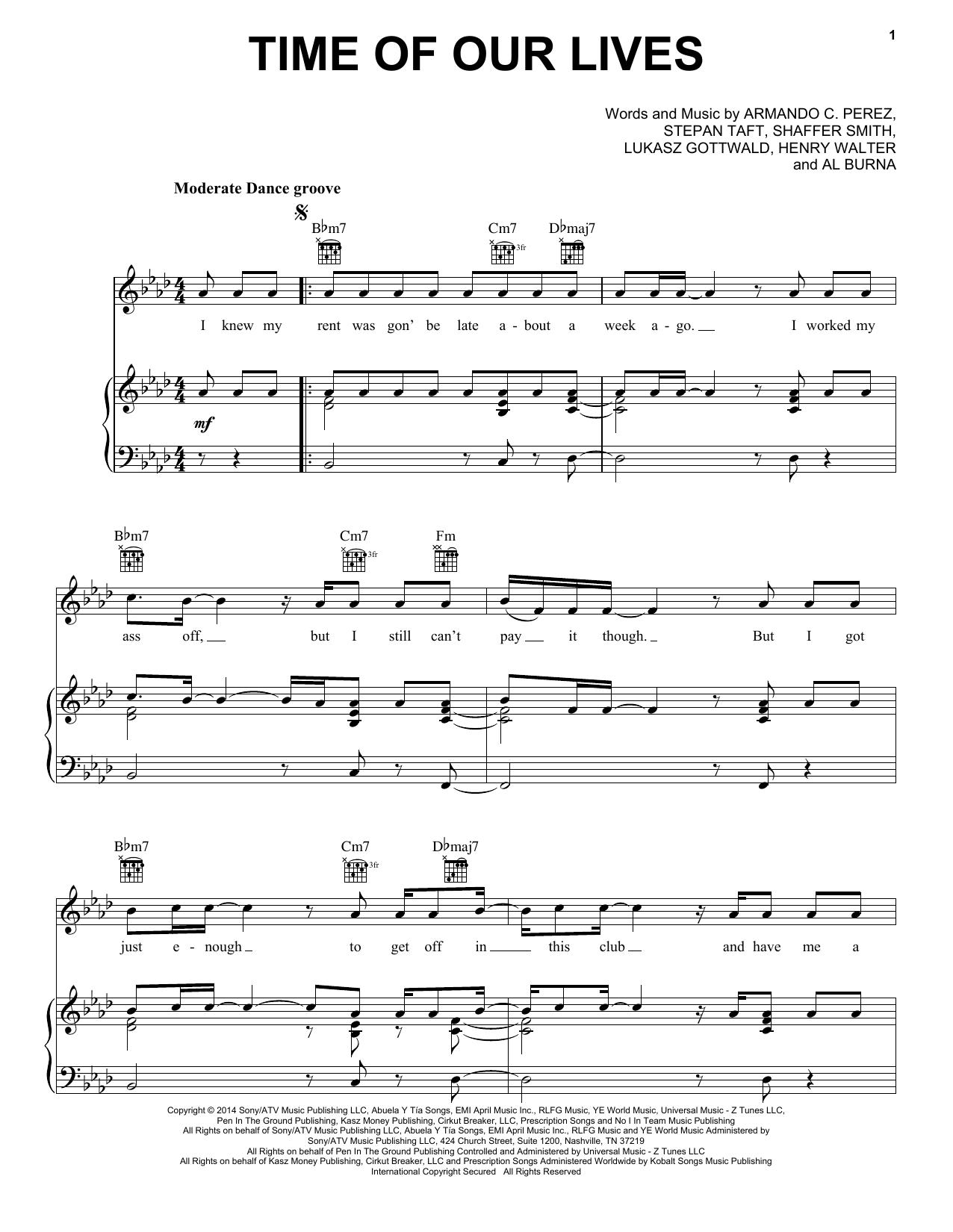 Partition piano Time Of Our Lives de Pitbull & Ne-Yo - Piano Voix Guitare (Mélodie Main Droite)