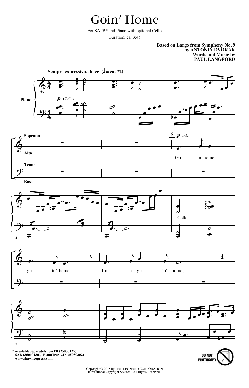 Partition chorale Goin' Home de Paul Langford - SATB