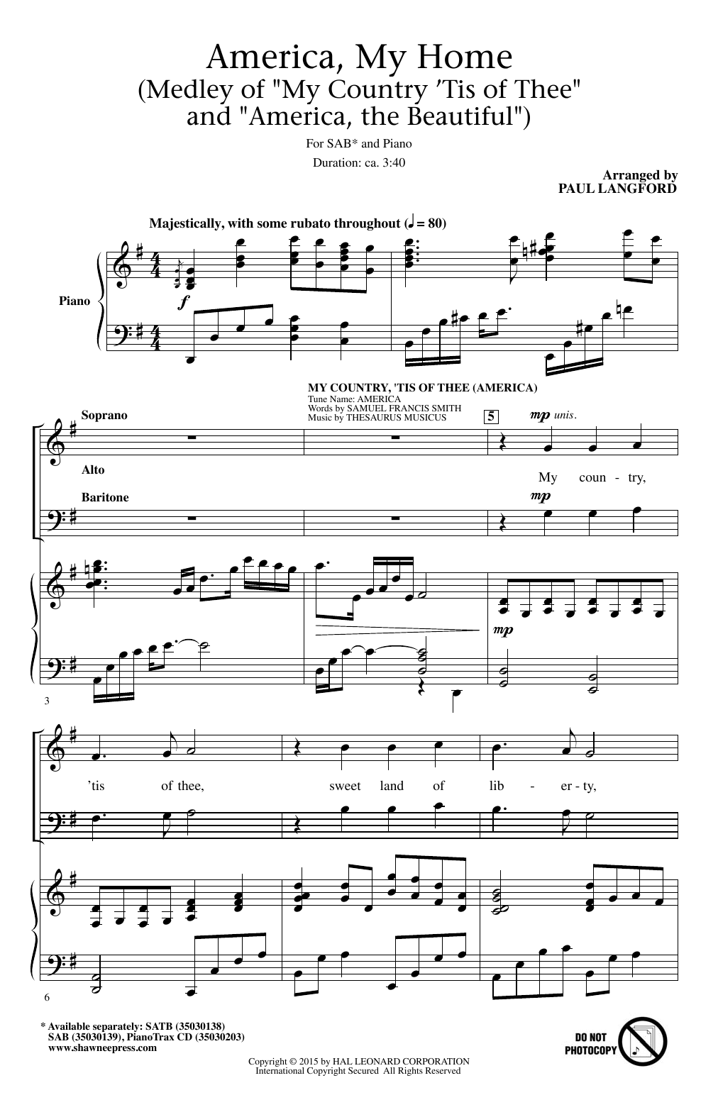 Partition chorale My Country, 'Tis Of Thee (America) de Thesaurus Musicus - SAB