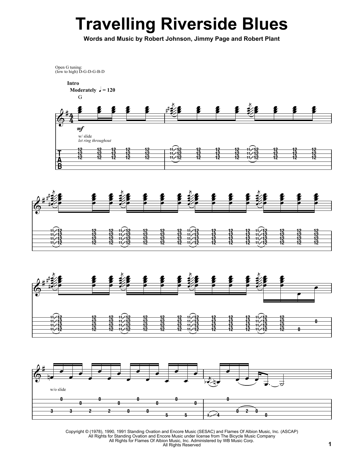 Tablature guitare Travelling Riverside Blues de Robert Johnson - Tablature Guitare