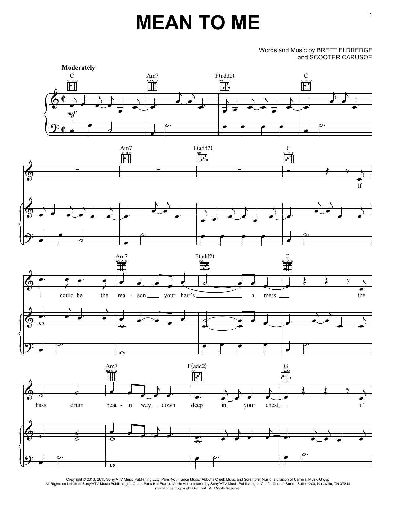 Partition piano Mean To Me de Brett Eldredge - Piano Voix Guitare (Mélodie Main Droite)