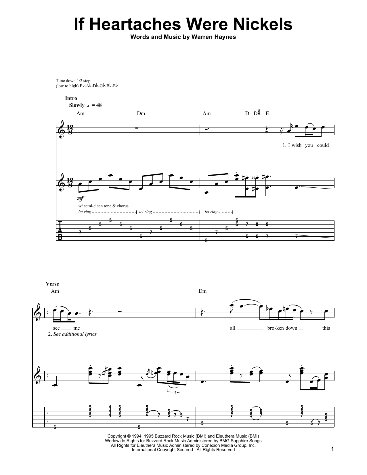 Tablature guitare If Heartaches Were Nickels de Joe Bonamassa - Tablature Guitare