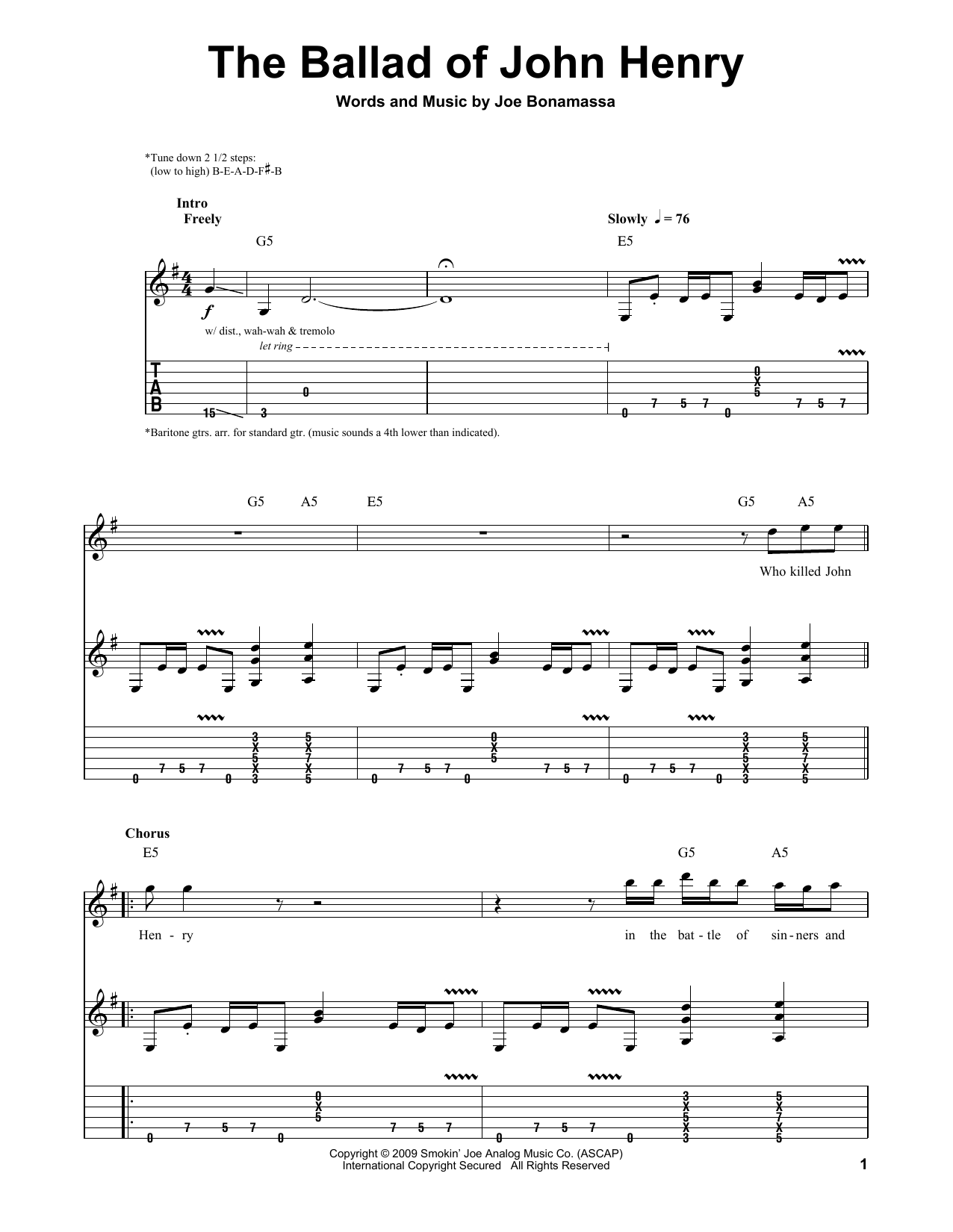Tablature guitare The Ballad Of John Henry de Joe Bonamassa - Tablature Guitare