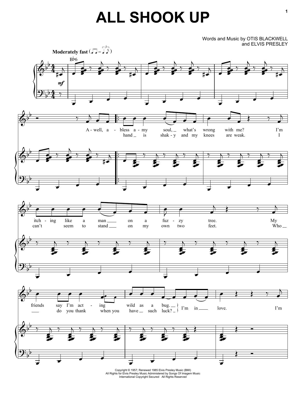 Partition piano All Shook Up de Elvis Presley - Piano Voix