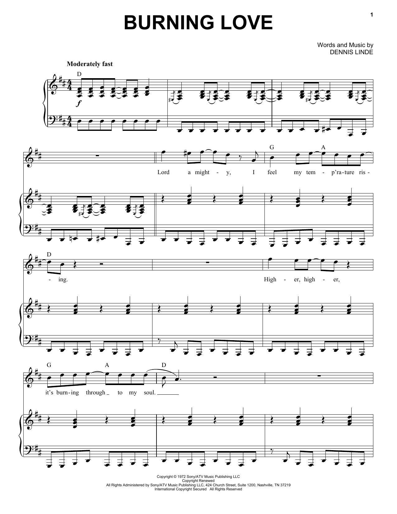 Partition piano Burning Love de Elvis Presley - Piano Voix