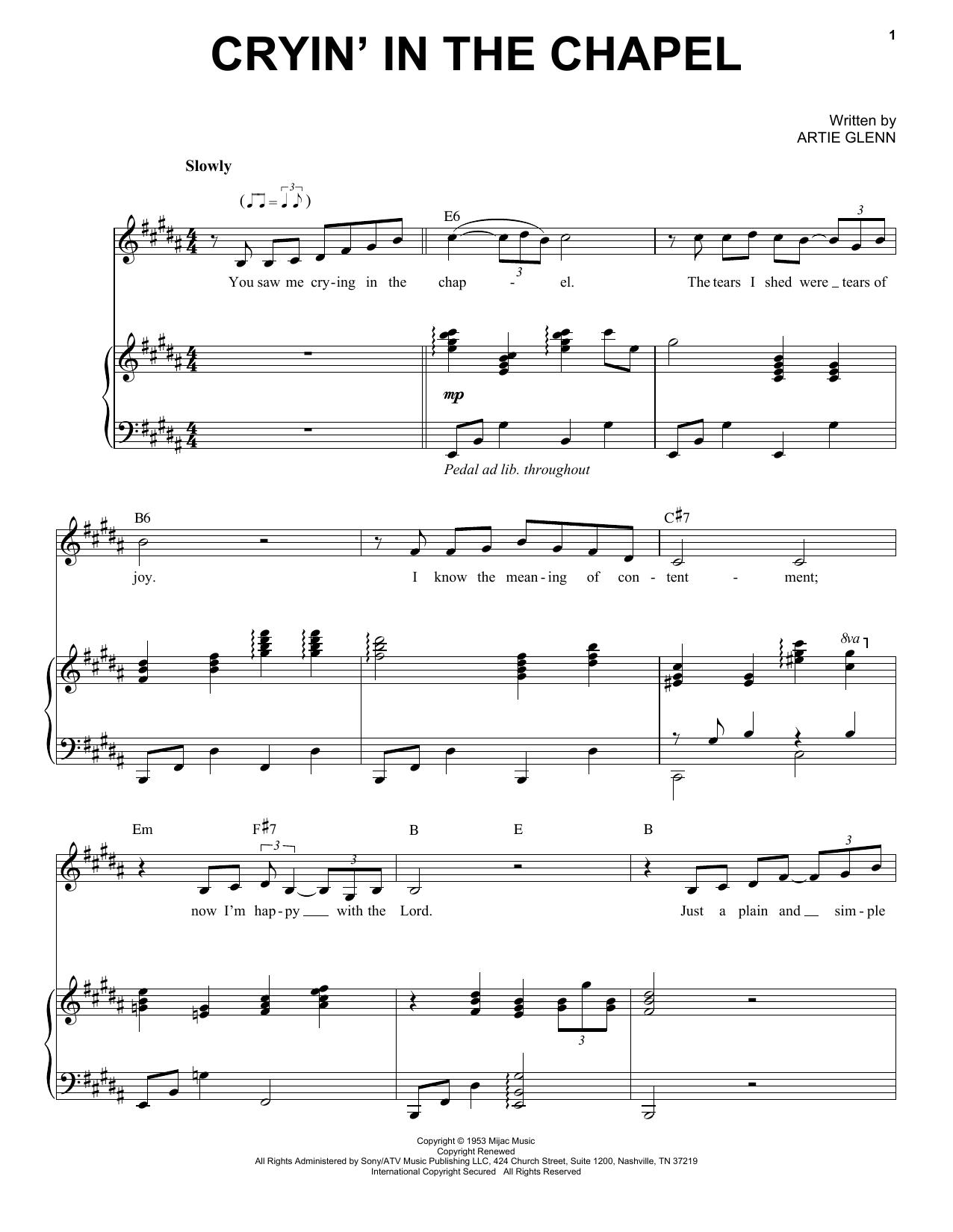Partition piano Cryin' In The Chapel de Elvis Presley - Piano Voix