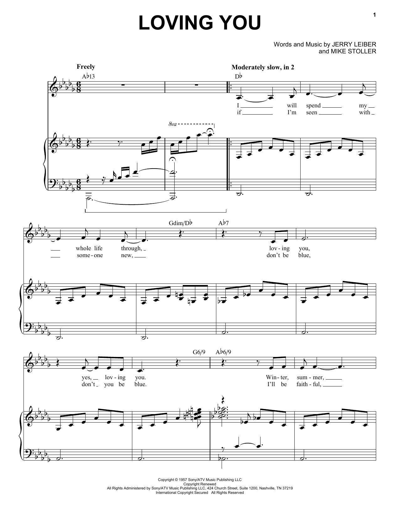Partition piano Loving You de Elvis Presley - Piano Voix