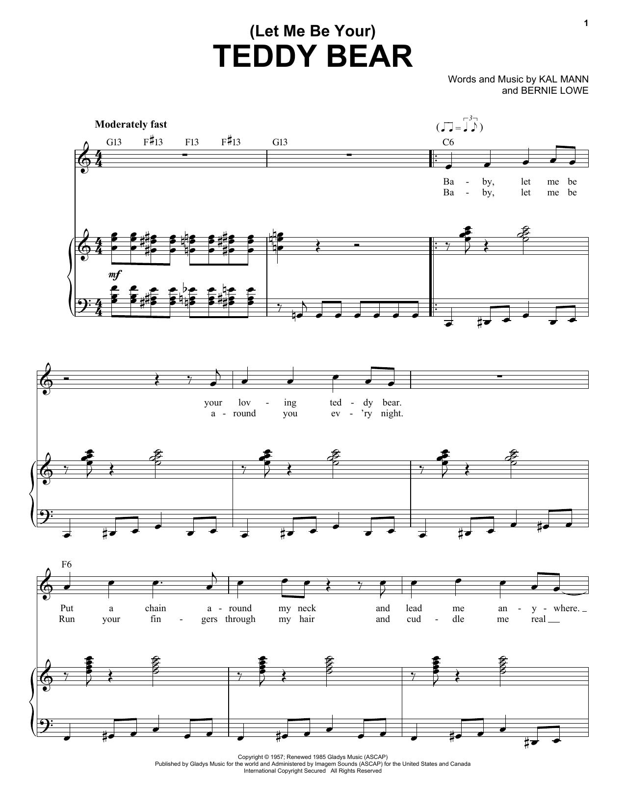 Partition piano (Let Me Be Your) Teddy Bear de Elvis Presley - Piano Voix