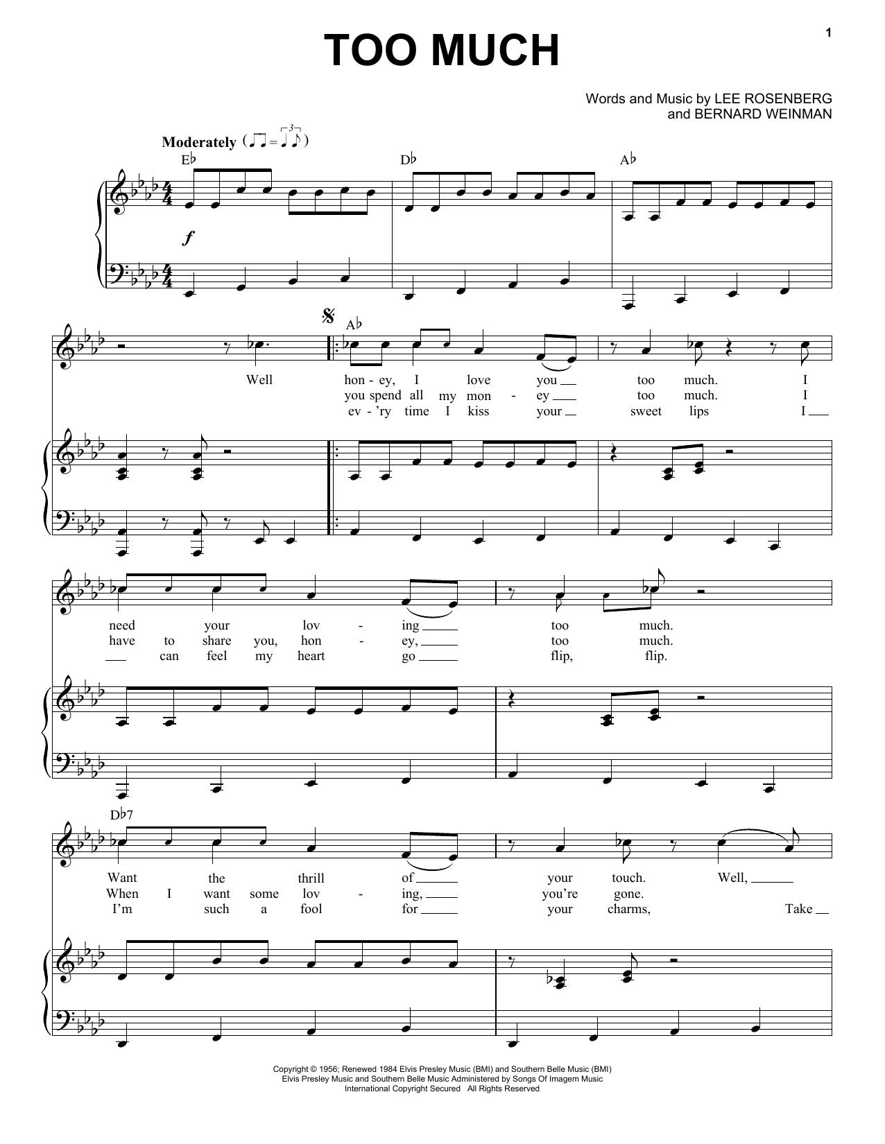Partition piano Too Much de Elvis Presley - Piano Voix