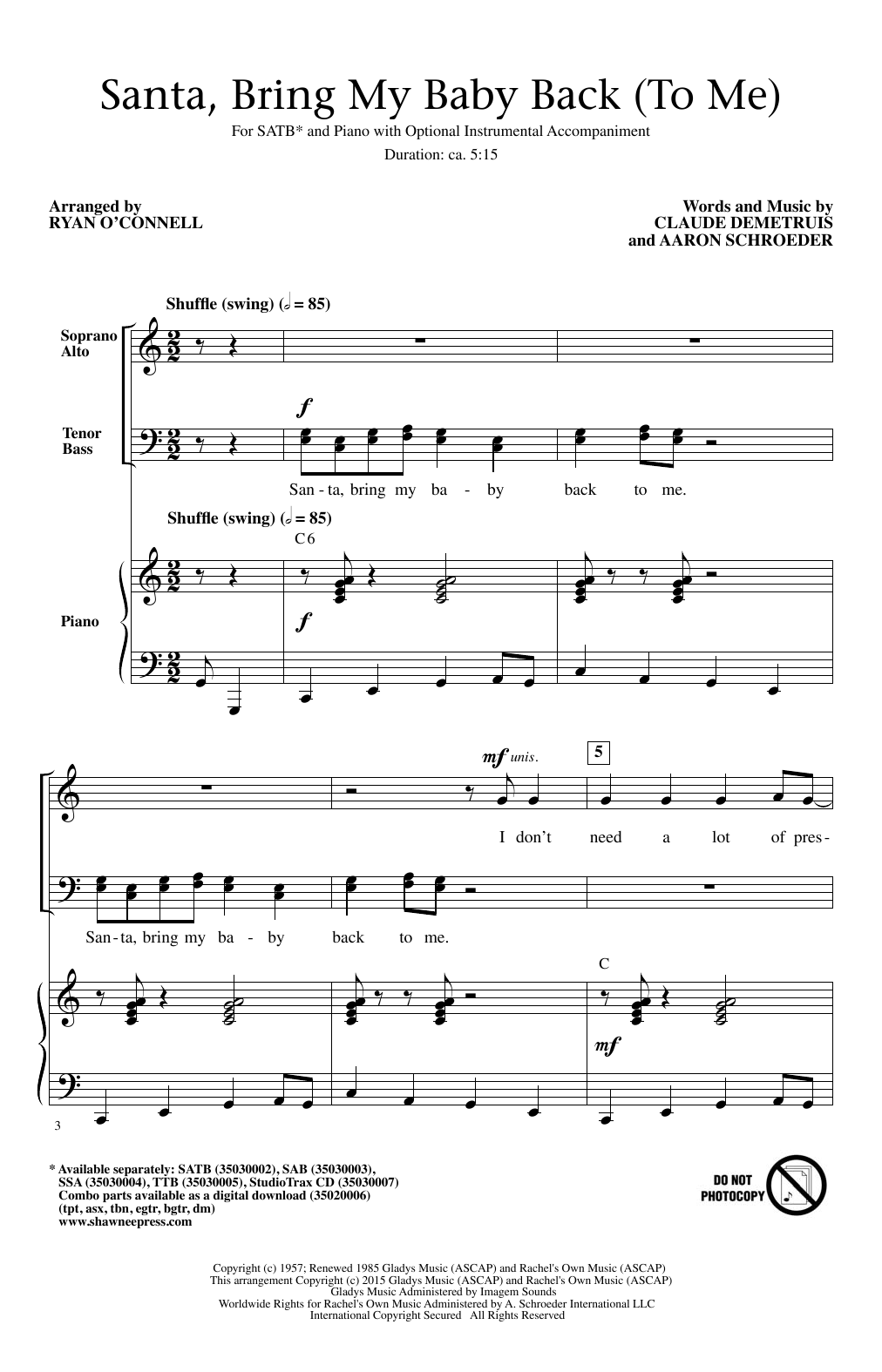 Partition chorale Santa, Bring My Baby Back (To Me) (arr. Ryan O'Connell) de Elvis Presley - SATB