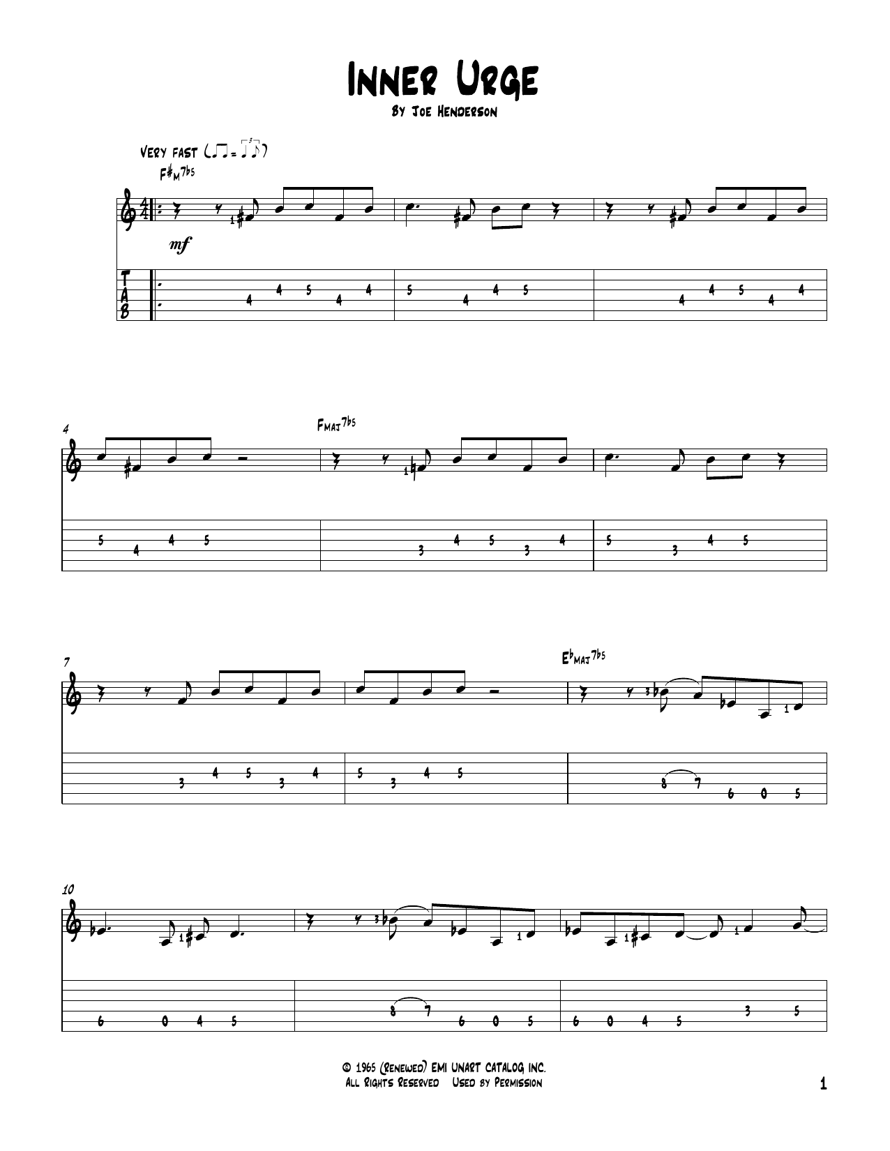 Tablature guitare Inner Urge de Joe Henderson - Tablature Guitare