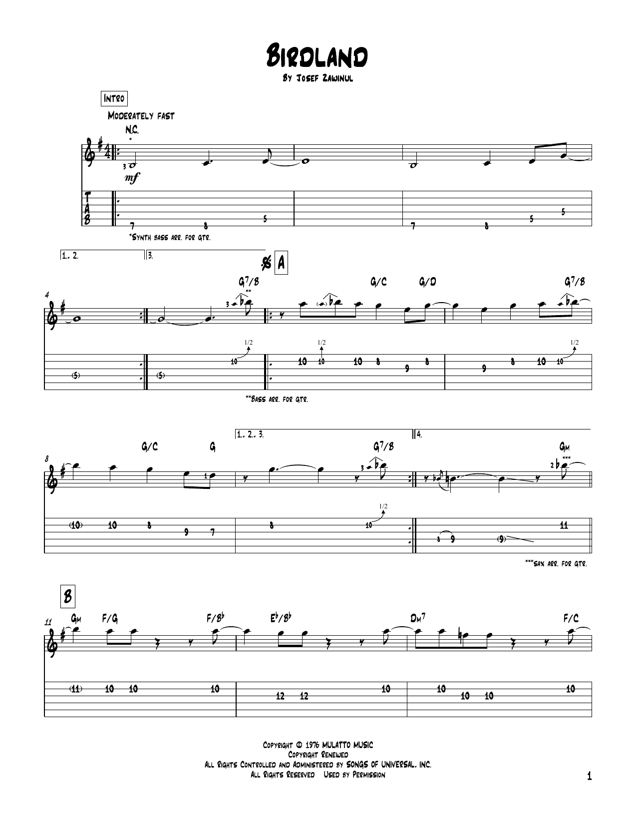 Tablature guitare Birdland de The Manhattan Transfer - Tablature Guitare
