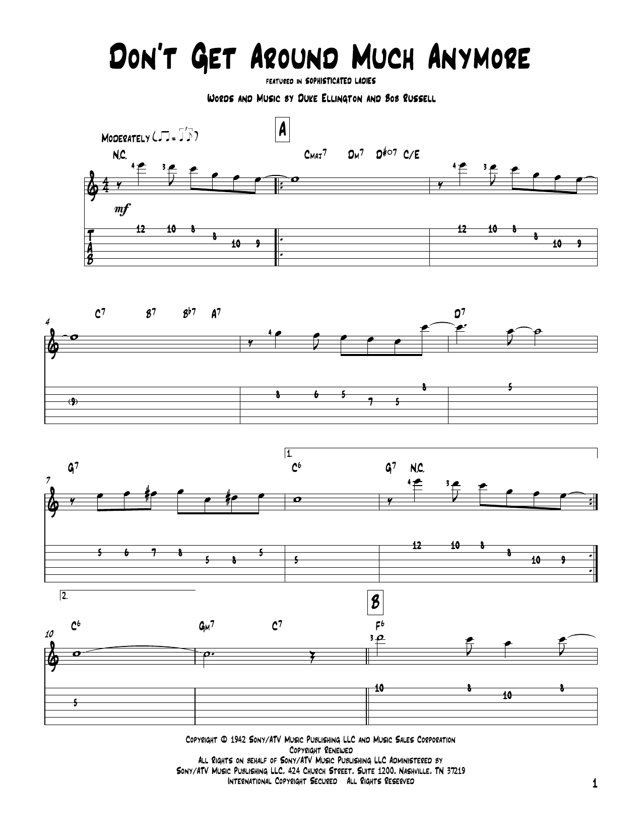 Tablature guitare Don't Get Around Much Anymore de Duke Ellington - Tablature Guitare