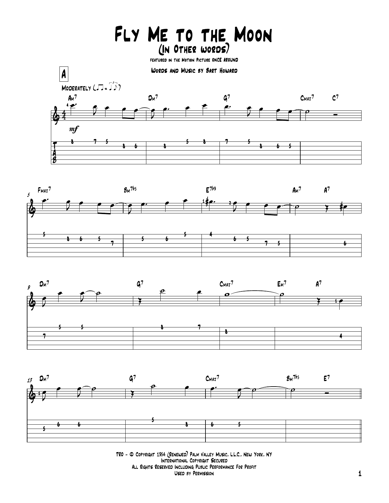 Tablature guitare Fly Me To The Moon (In Other Words) de Bart Howard - Tablature Guitare