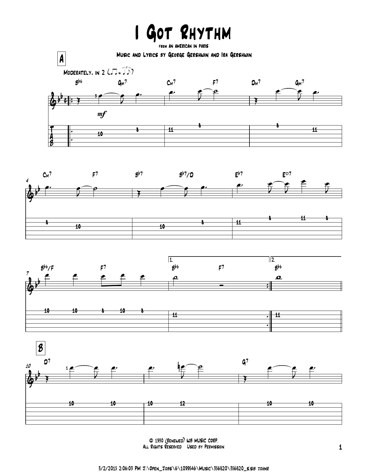 Tablature guitare I Got Rhythm de George Gershwin - Tablature Guitare