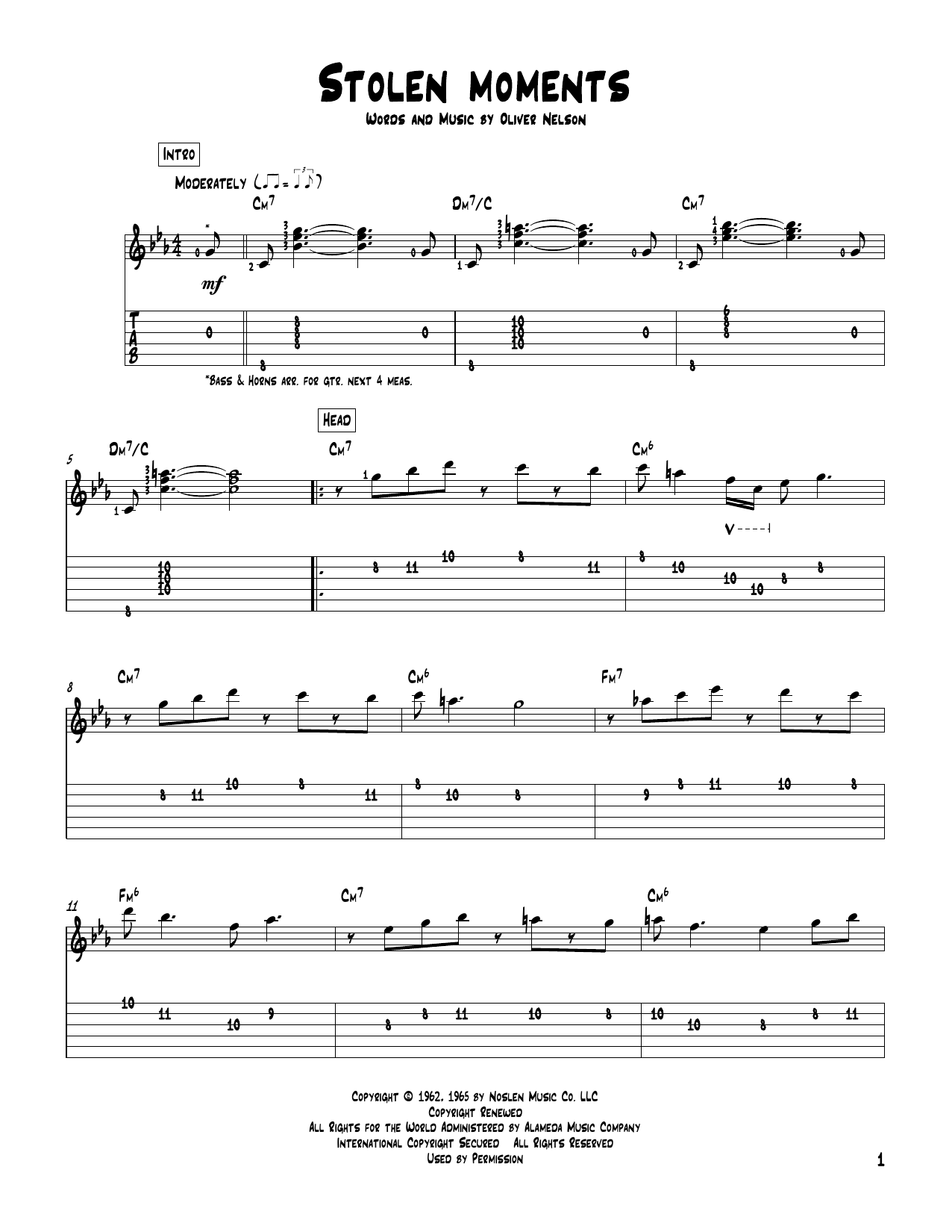Tablature guitare Stolen Moments de Oliver Nelson - Tablature Guitare