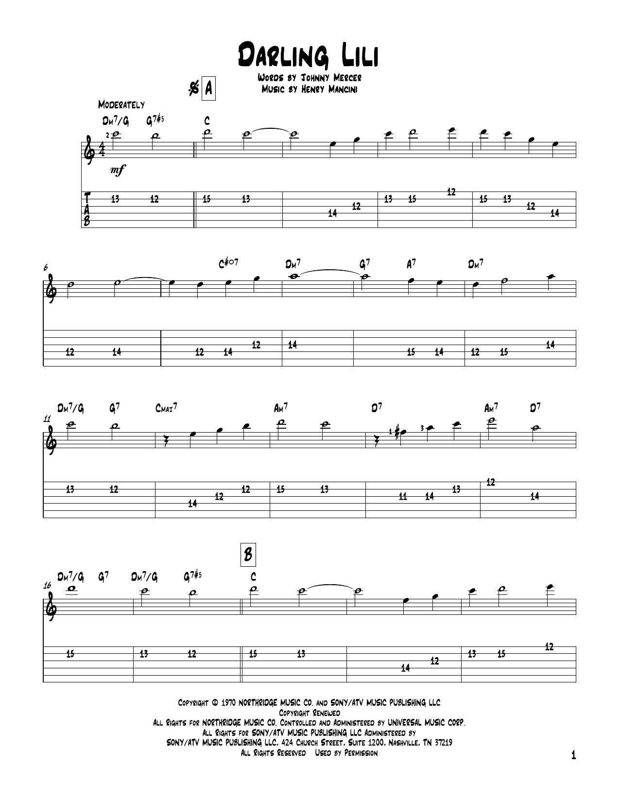 Tablature guitare Darling Lili de Henry Mancini - Tablature Guitare