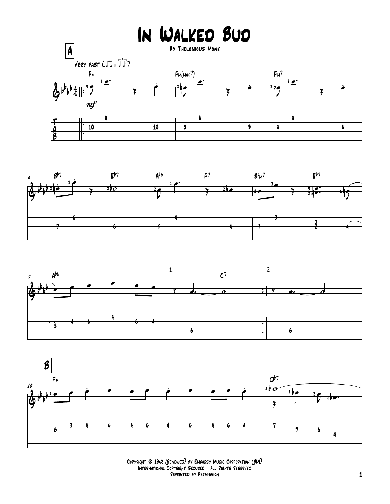 Tablature guitare In Walked Bud de Thelonious Monk - Tablature Guitare