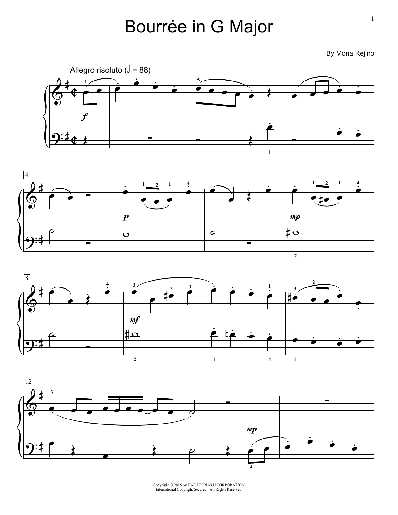 Partition piano Bourre In G Major de Mona Rejino - Piano Facile