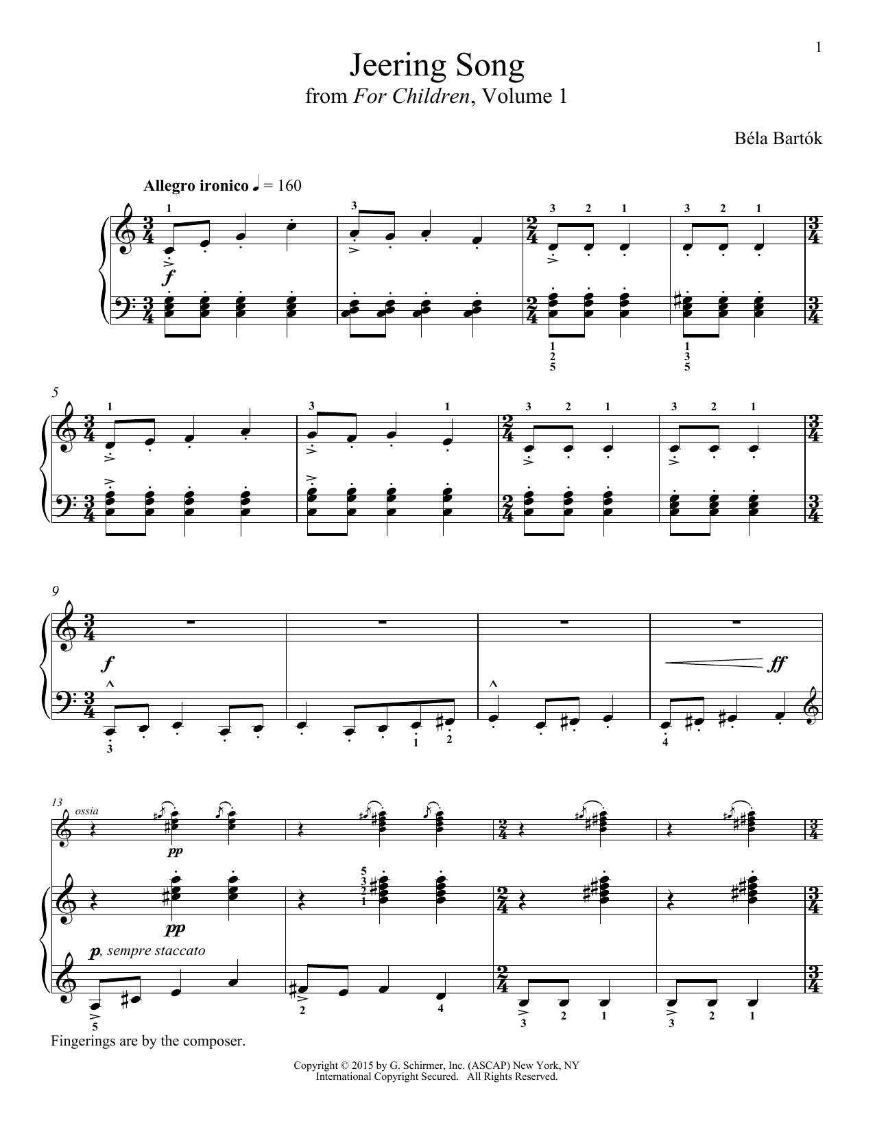 Partition piano Jeering Song de Bela Bartok - Piano Solo