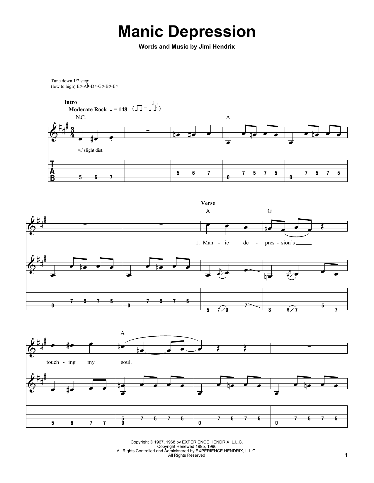 Tablature guitare Manic Depression de Jimi Hendrix - Tablature guitare facile