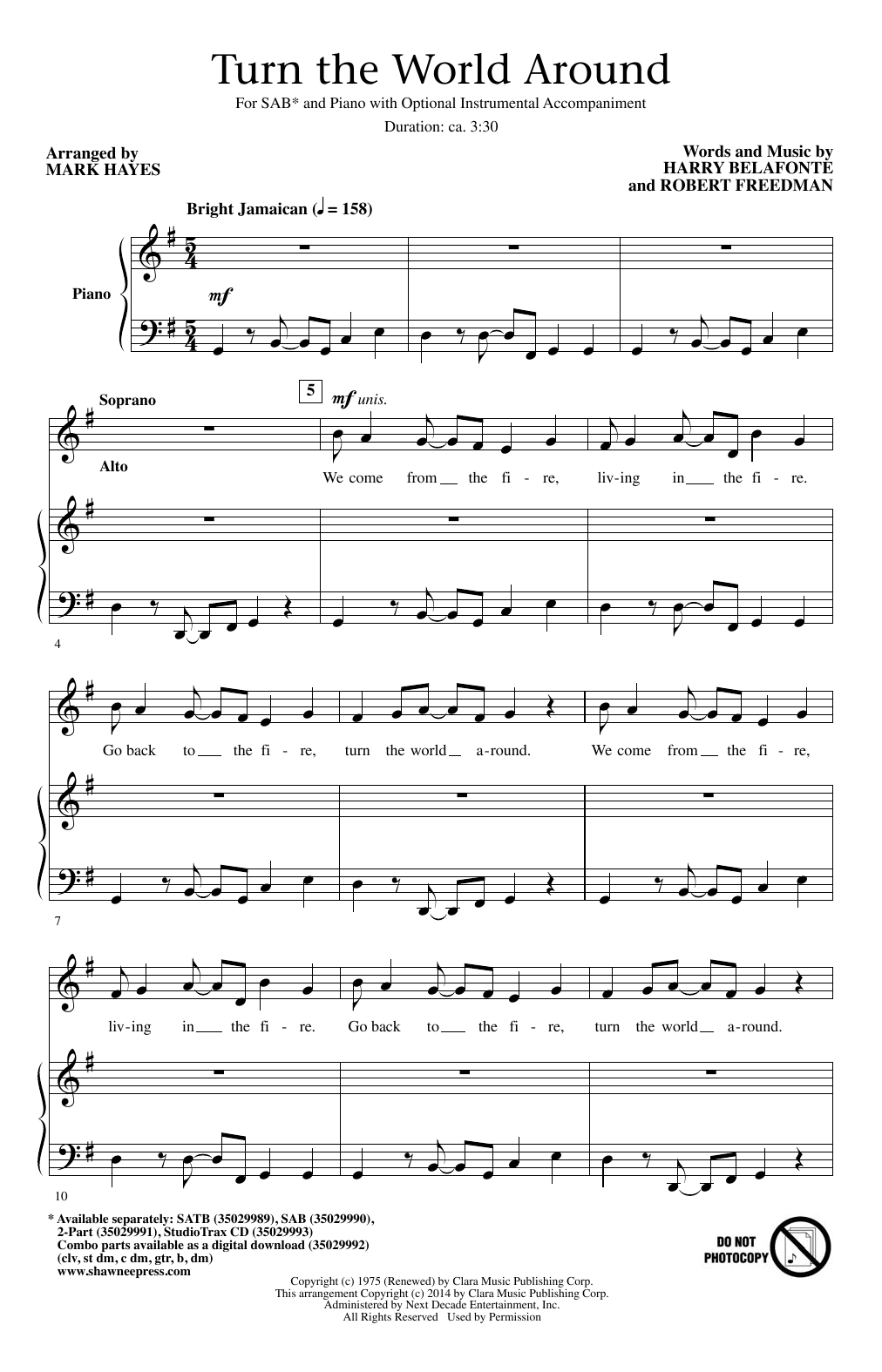 Partition chorale Turn The World Around (arr. Mark Hayes) de Harry Belafonte - SAB