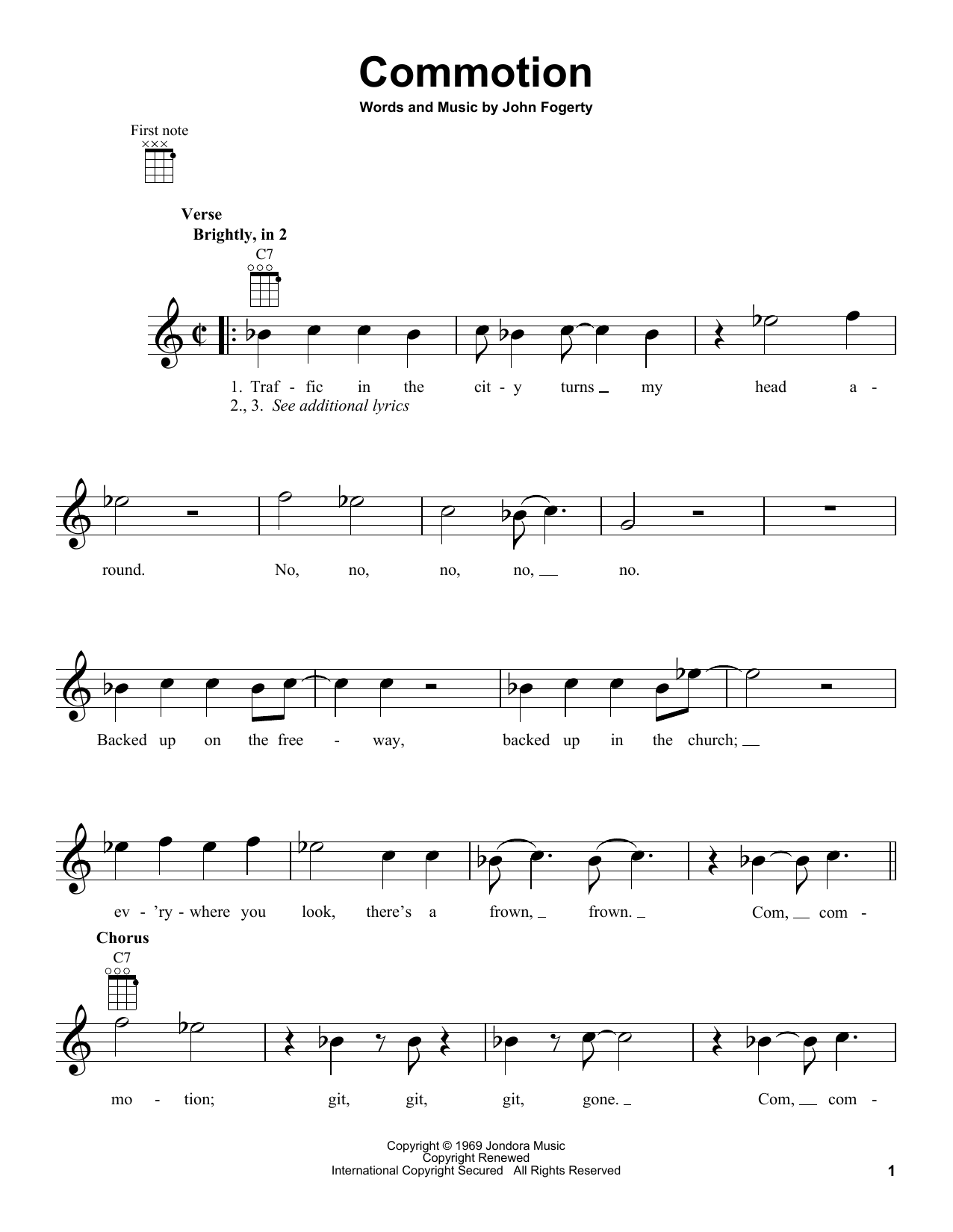 Tablature guitare Commotion de Creedence Clearwater Revival - Ukulele