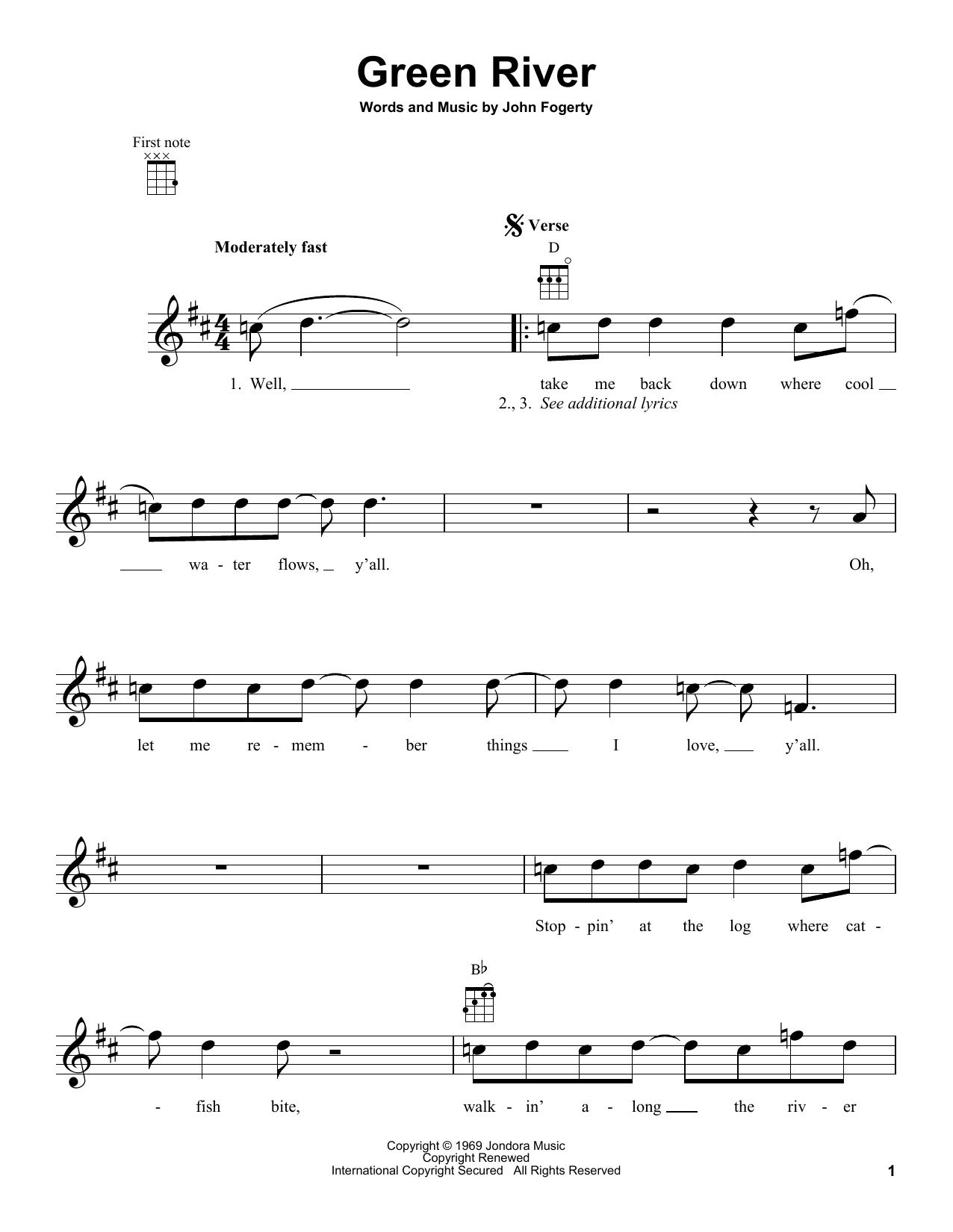 Tablature guitare Green River de Creedence Clearwater Revival - Ukulele