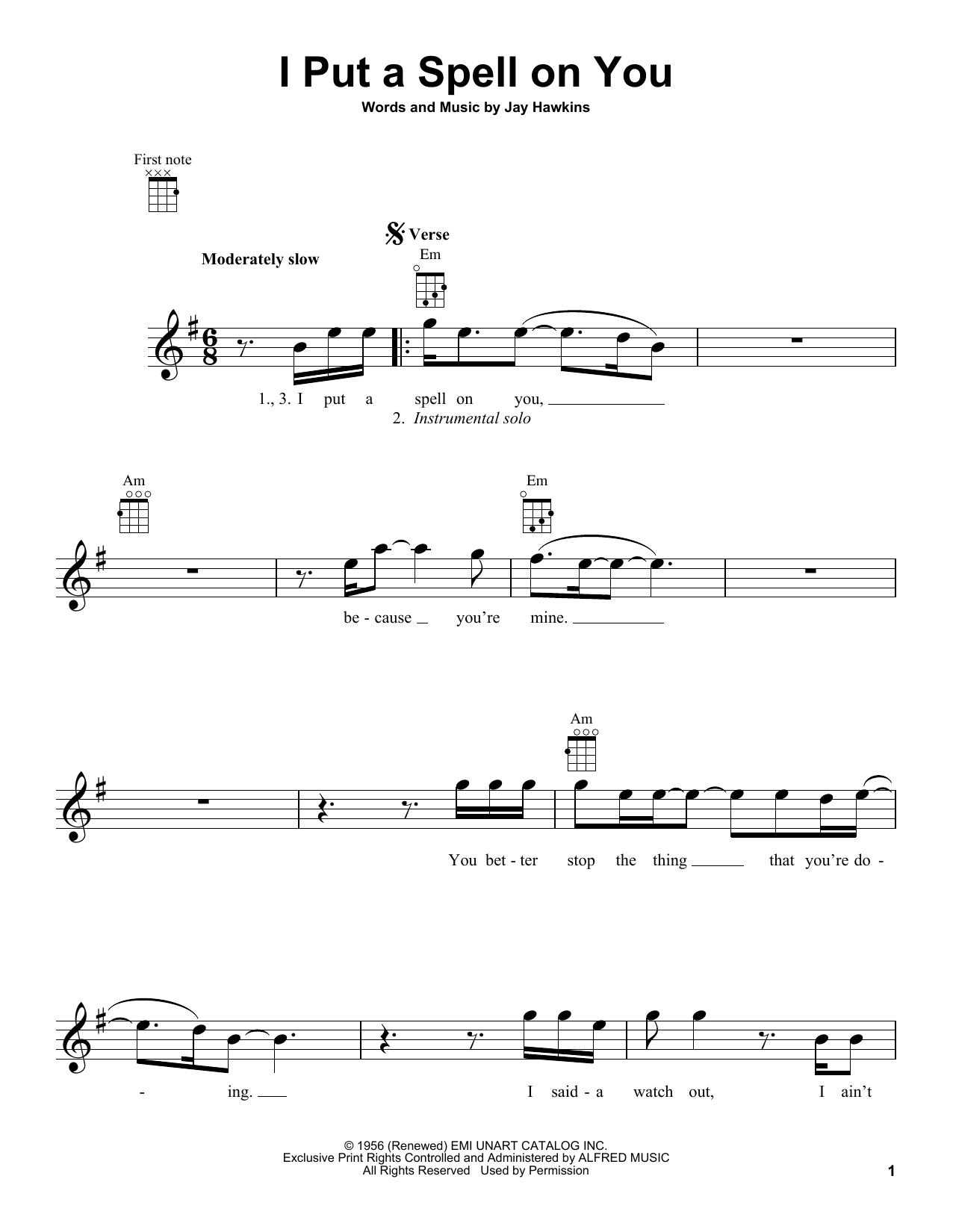 Tablature guitare I Put A Spell On You de Creedence Clearwater Revival - Ukulele