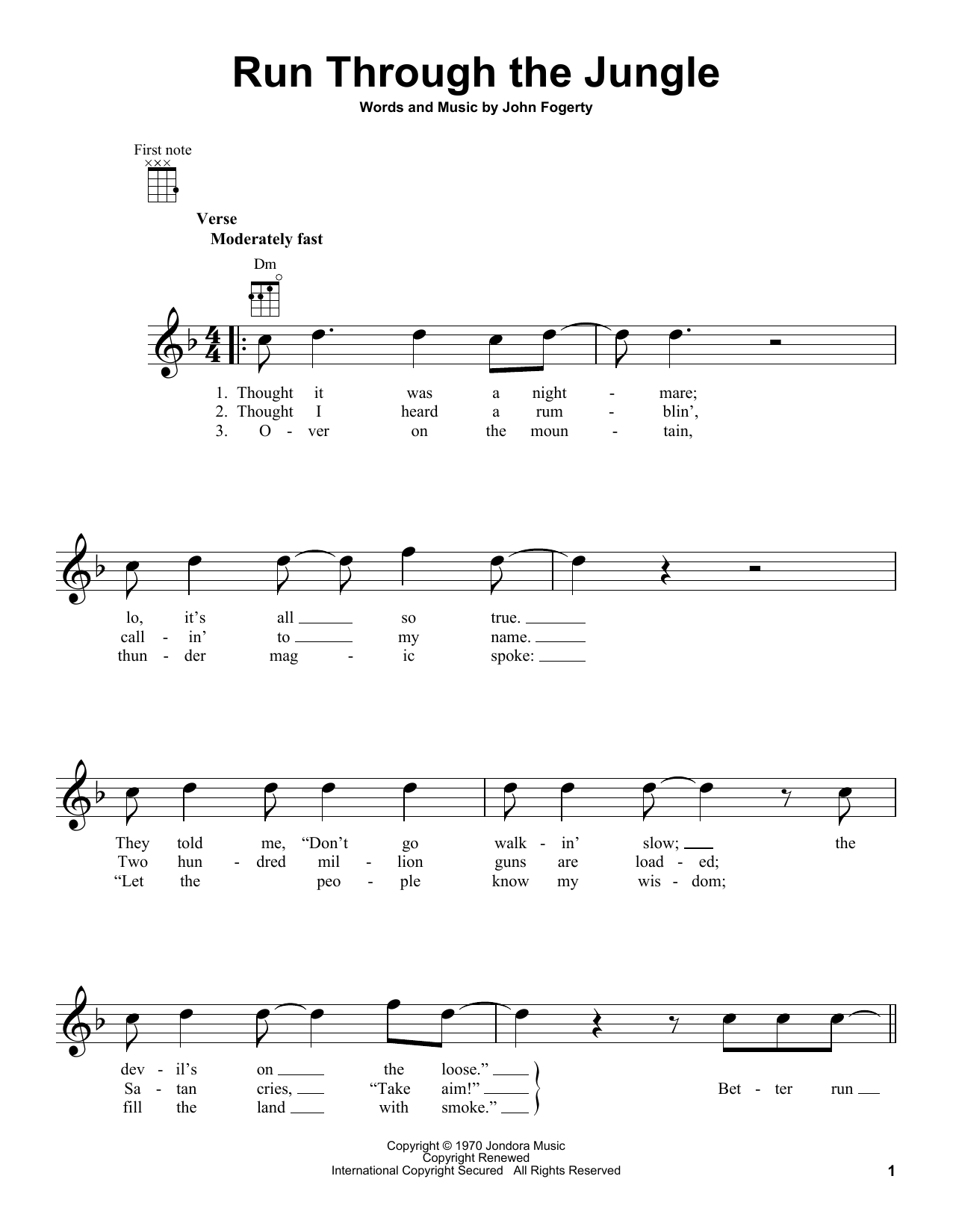 Tablature guitare Run Through The Jungle de Creedence Clearwater Revival - Ukulele