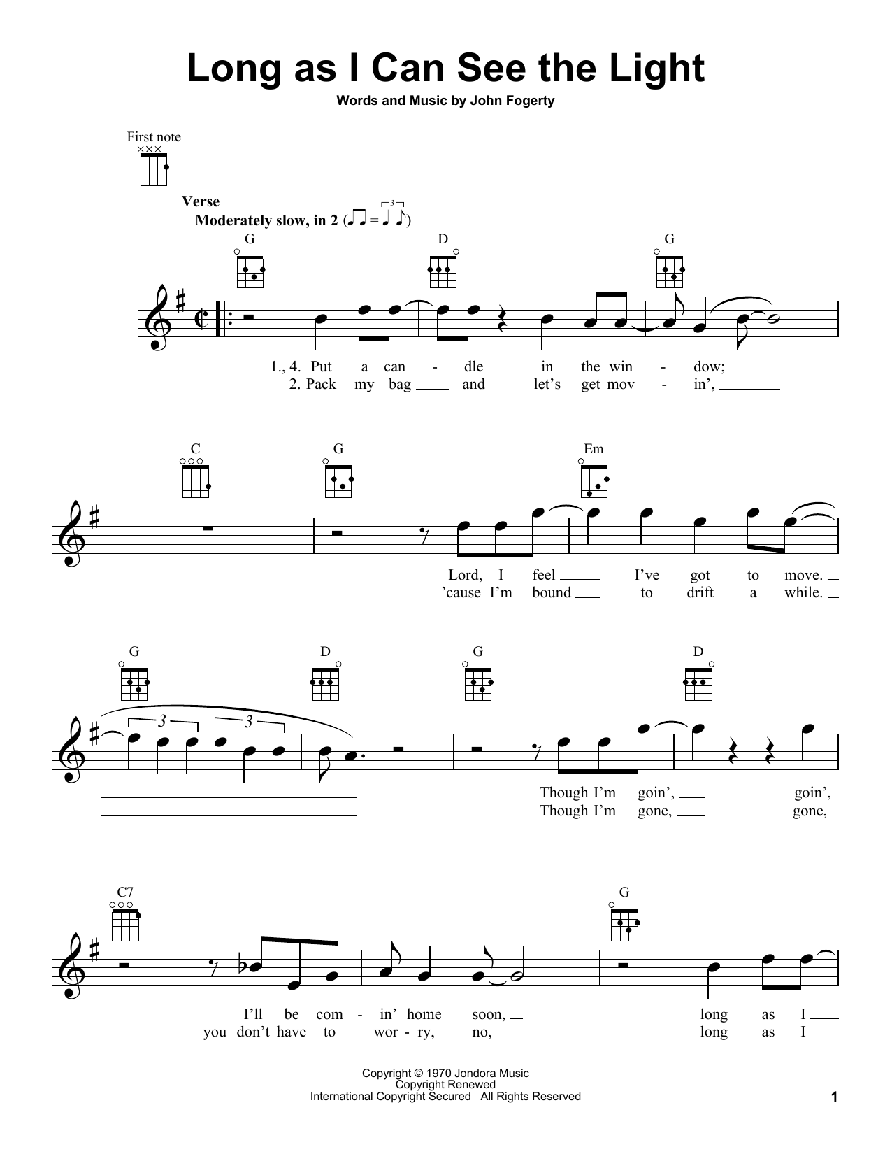 Tablature guitare Long As I Can See The Light de Creedence Clearwater Revival - Ukulele
