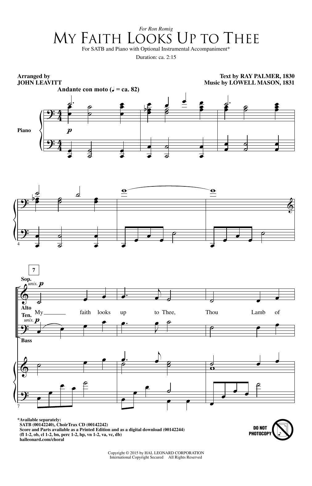 Partition chorale My Faith Looks Up To Thee (arr. John Leavitt) de Lowell Mason - SATB